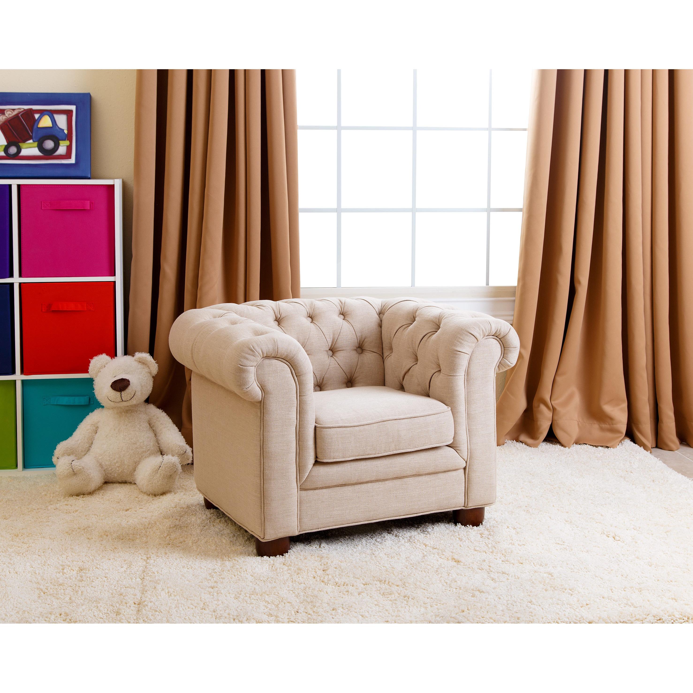 Abbyson Kids Beige Linen Chesterfield RJ Mini Chair Free Shipping