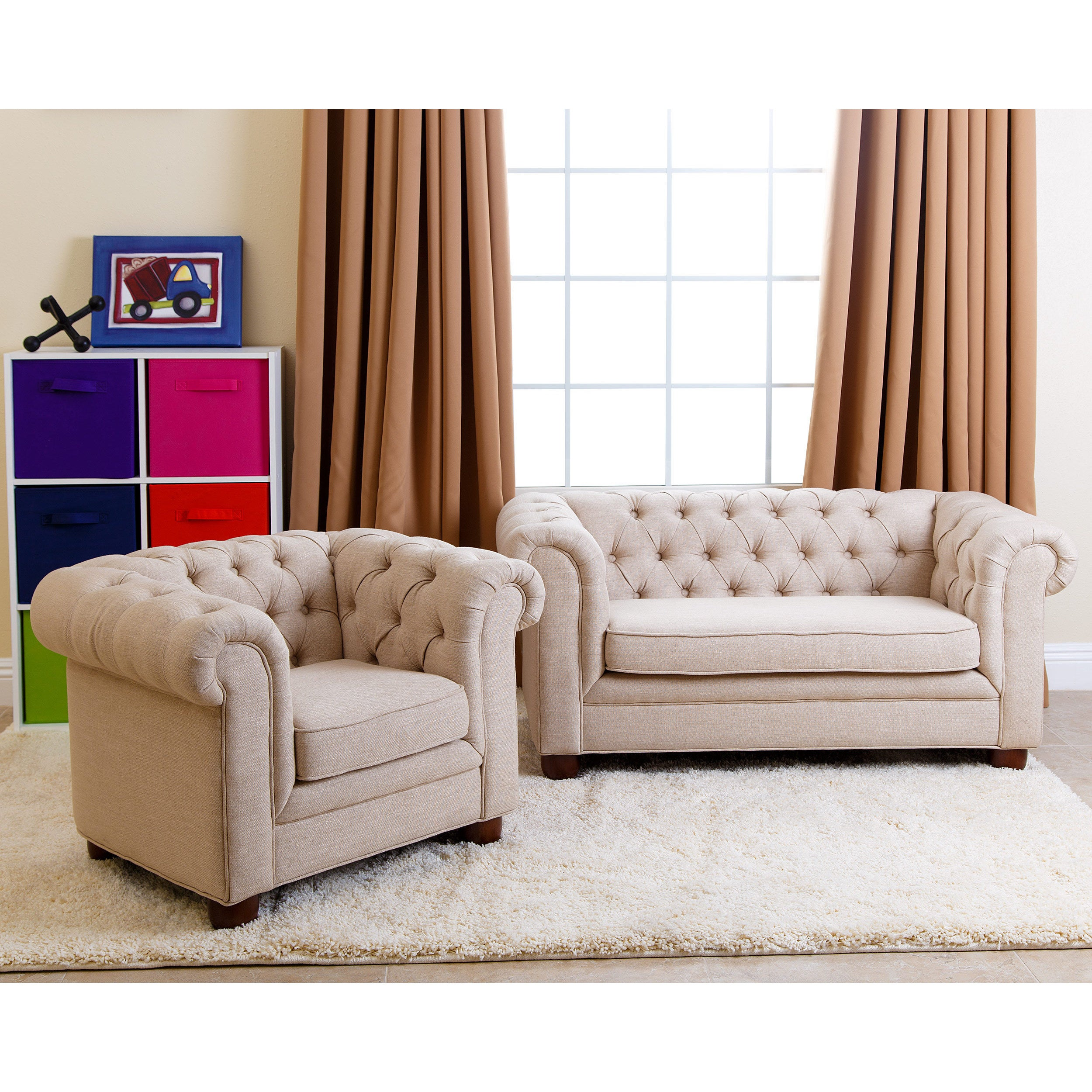 Abbyson Kids Beige Linen Chesterfield RJ Mini Sofa Free Shipping