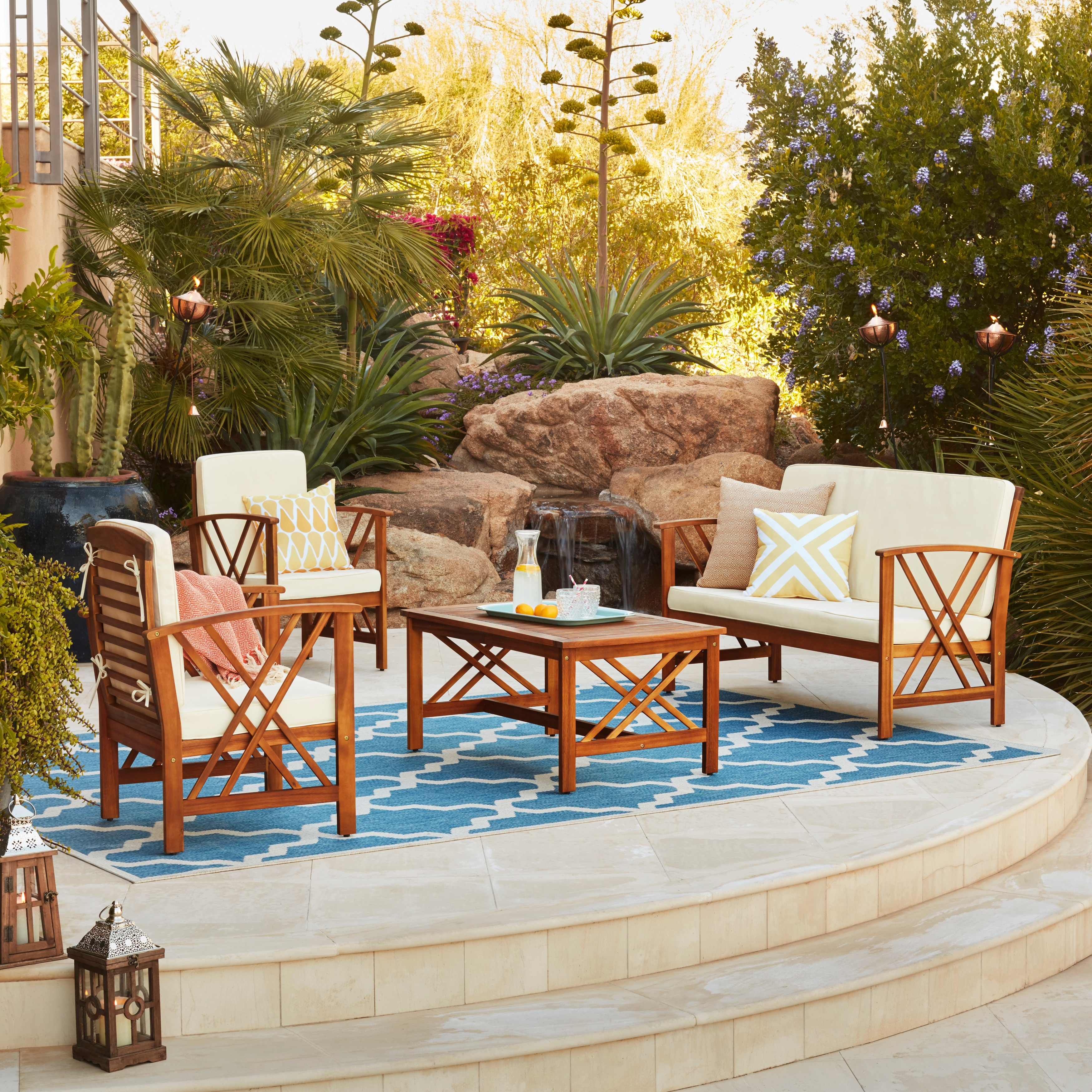 Shop Langdon Outdoor 4-piece Acacia Wood Chat Set with Cushions by ...