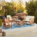 Langdon Outdoor 4-piece Acacia Wood Chat Set with Cushions by Christopher Knight Home