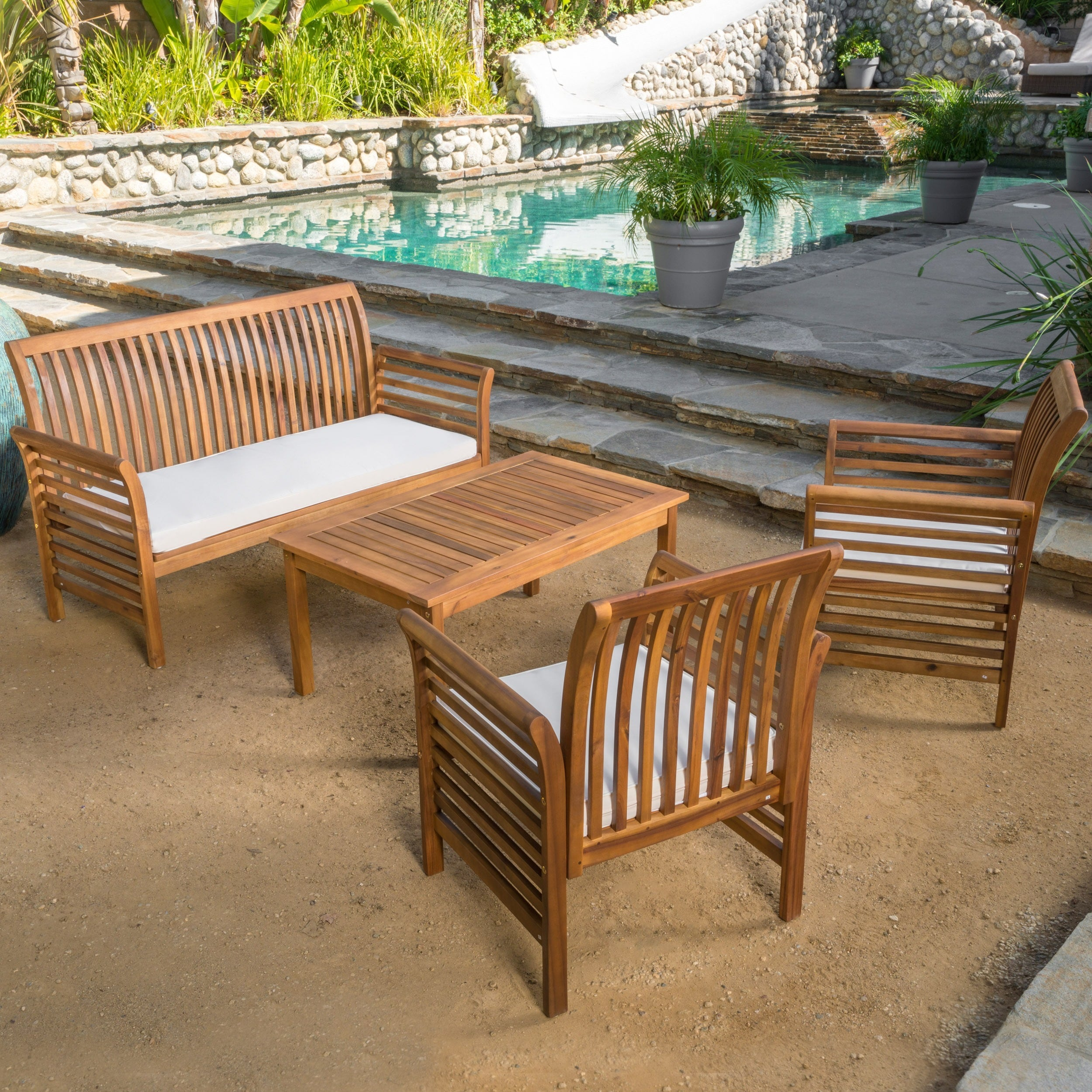 Superbe Shop Desmond Outdoor 4 Piece Acacia Wood Chat Set With Cushions By  Christopher Knight Home   On Sale   Free Shipping Today   Overstock.com    10564348