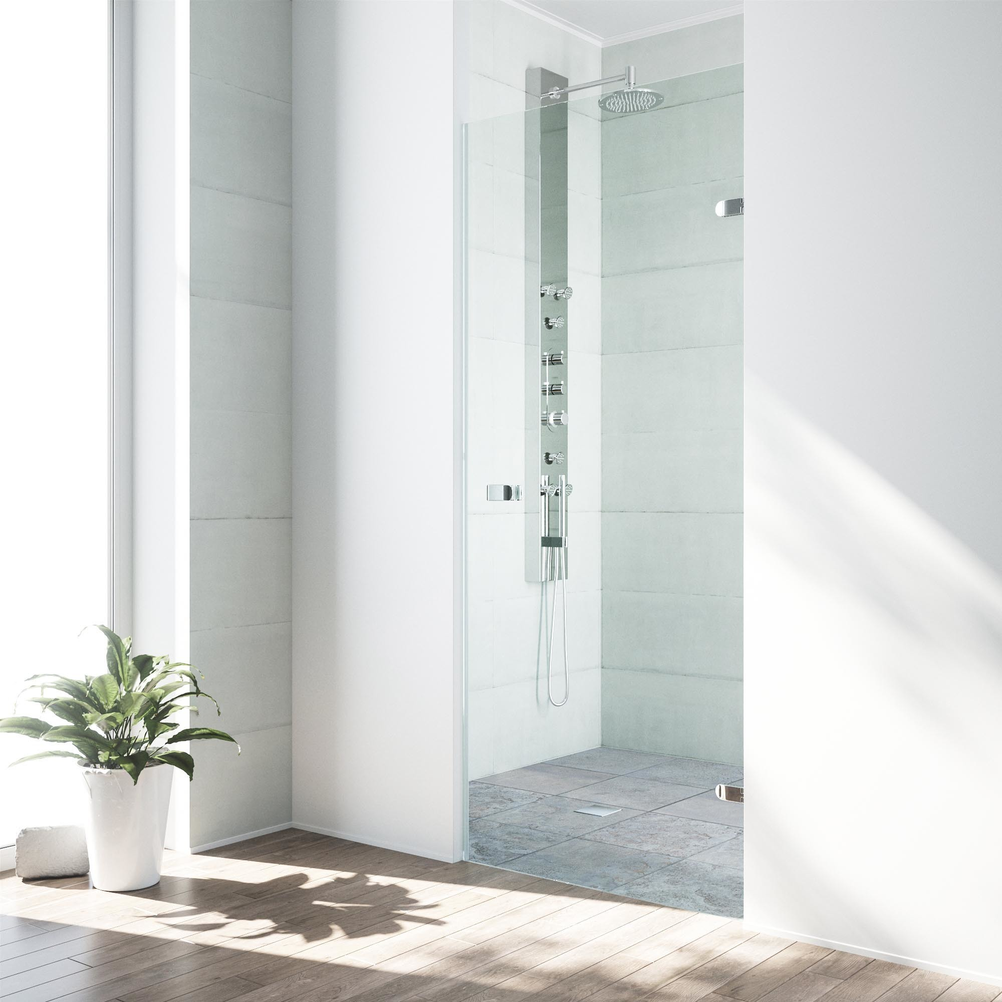 VIGO Tempo 26 Inch Adjustable Frameless Shower Door With Clear Glass And  Chrome Hardware   Free Shipping Today   Overstock   17642855