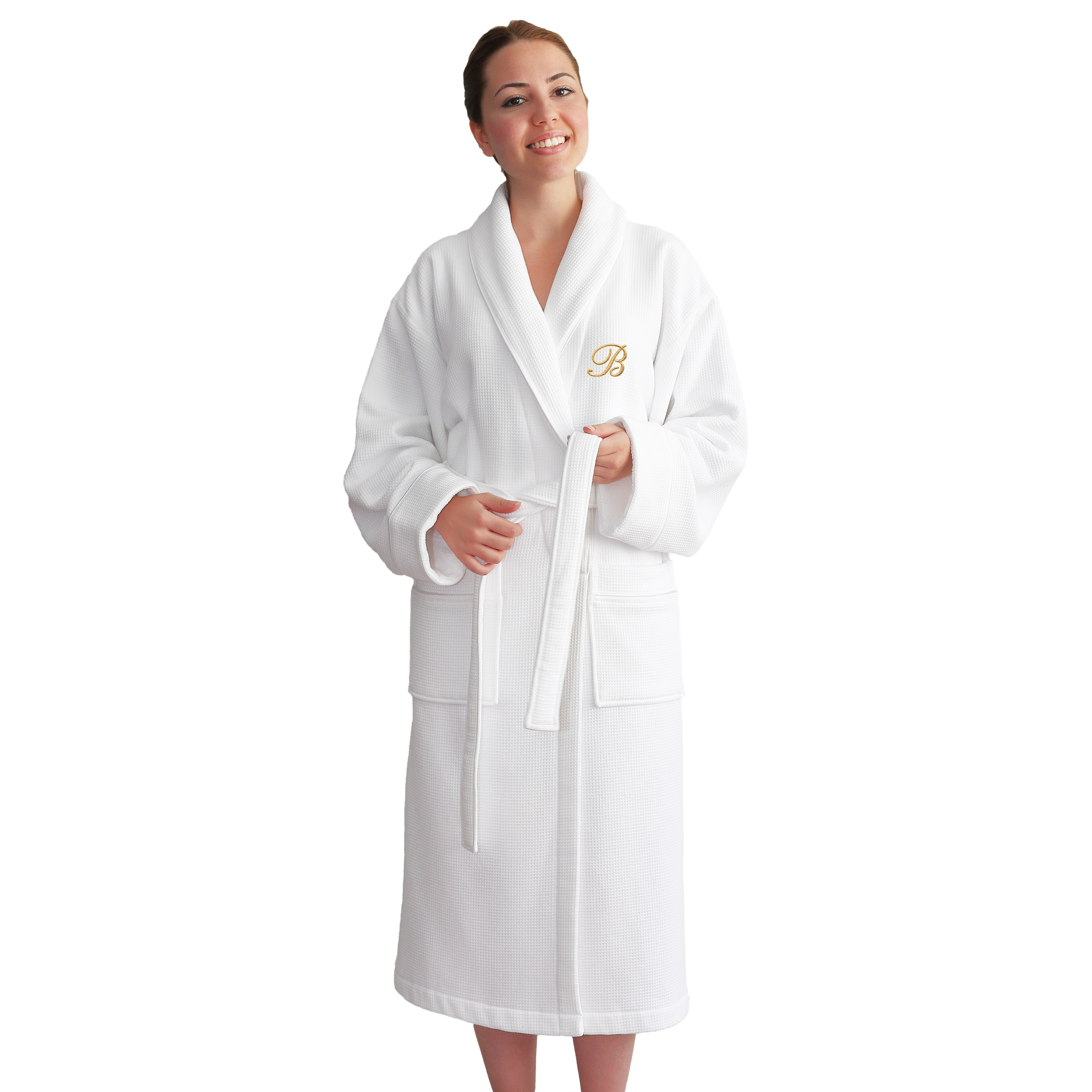 Authentic Hotel and Spa Unisex Gold Monogrammed Turkish Cotton Waffle Weave  Terry Bath Robe e2be404d5