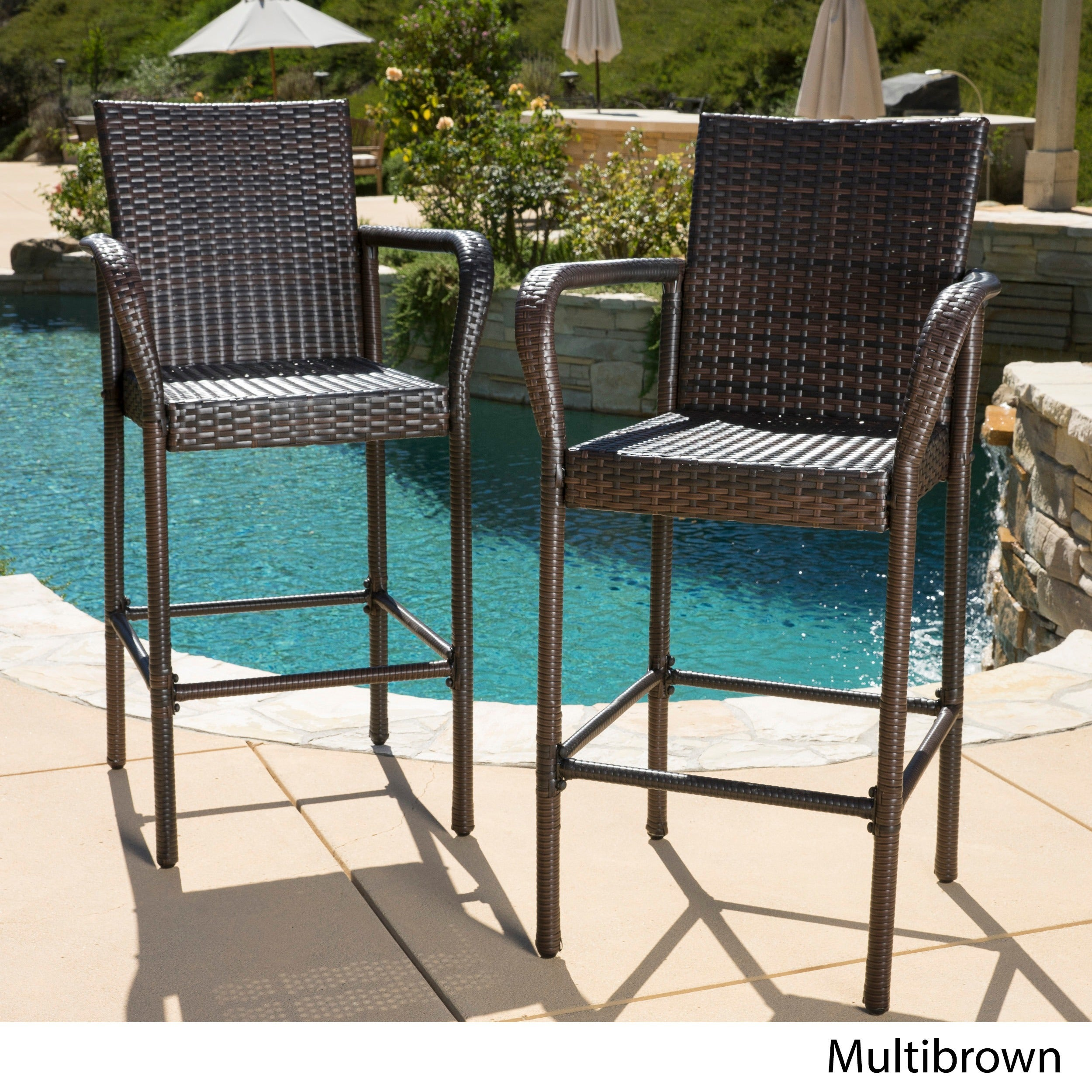 Delfina Outdoor Wicker Bar Stool Set of 2 by Christopher Knight