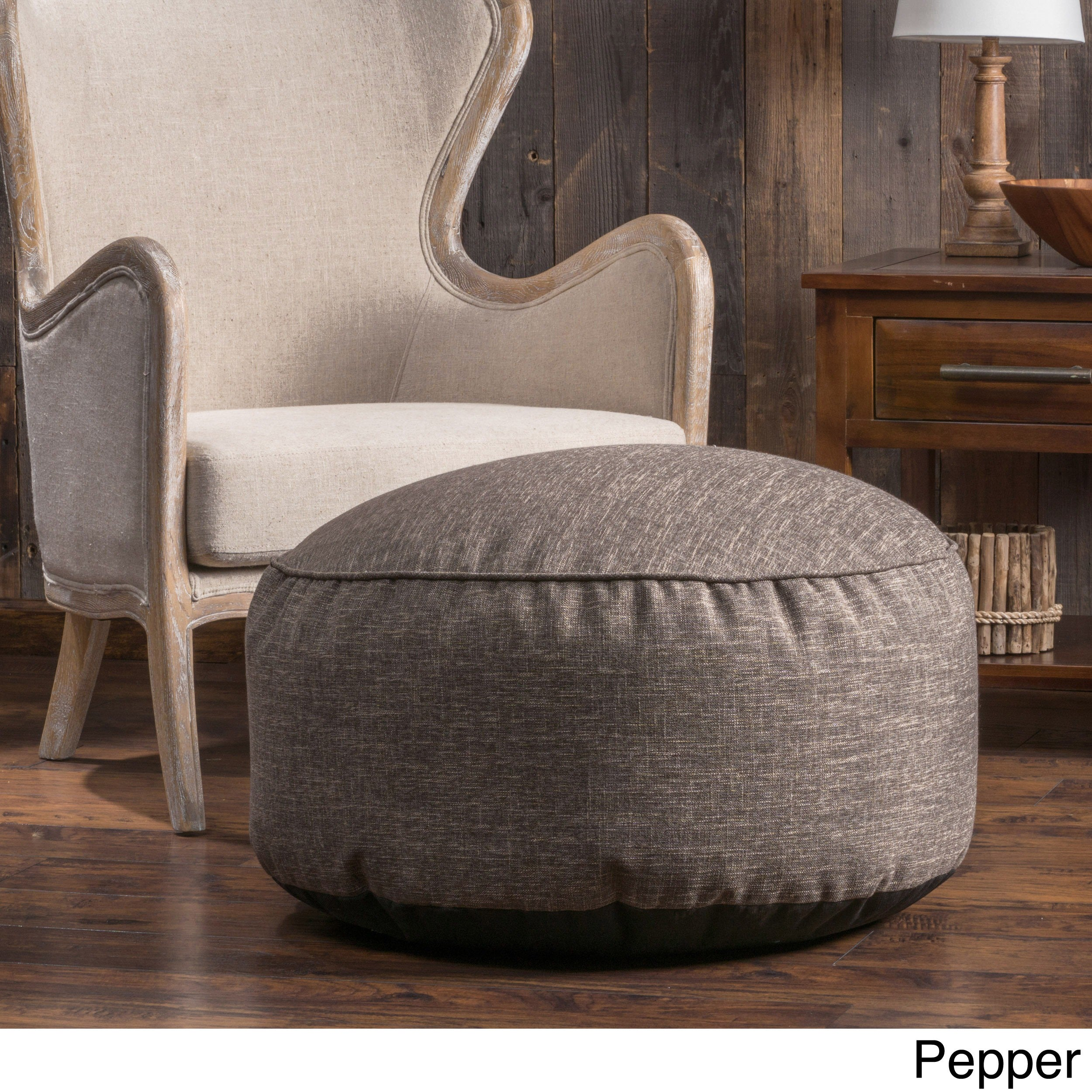 Christopher Knight Home Hendrix Round Fabric Pouf Ottoman Free Shipping Today 10566688