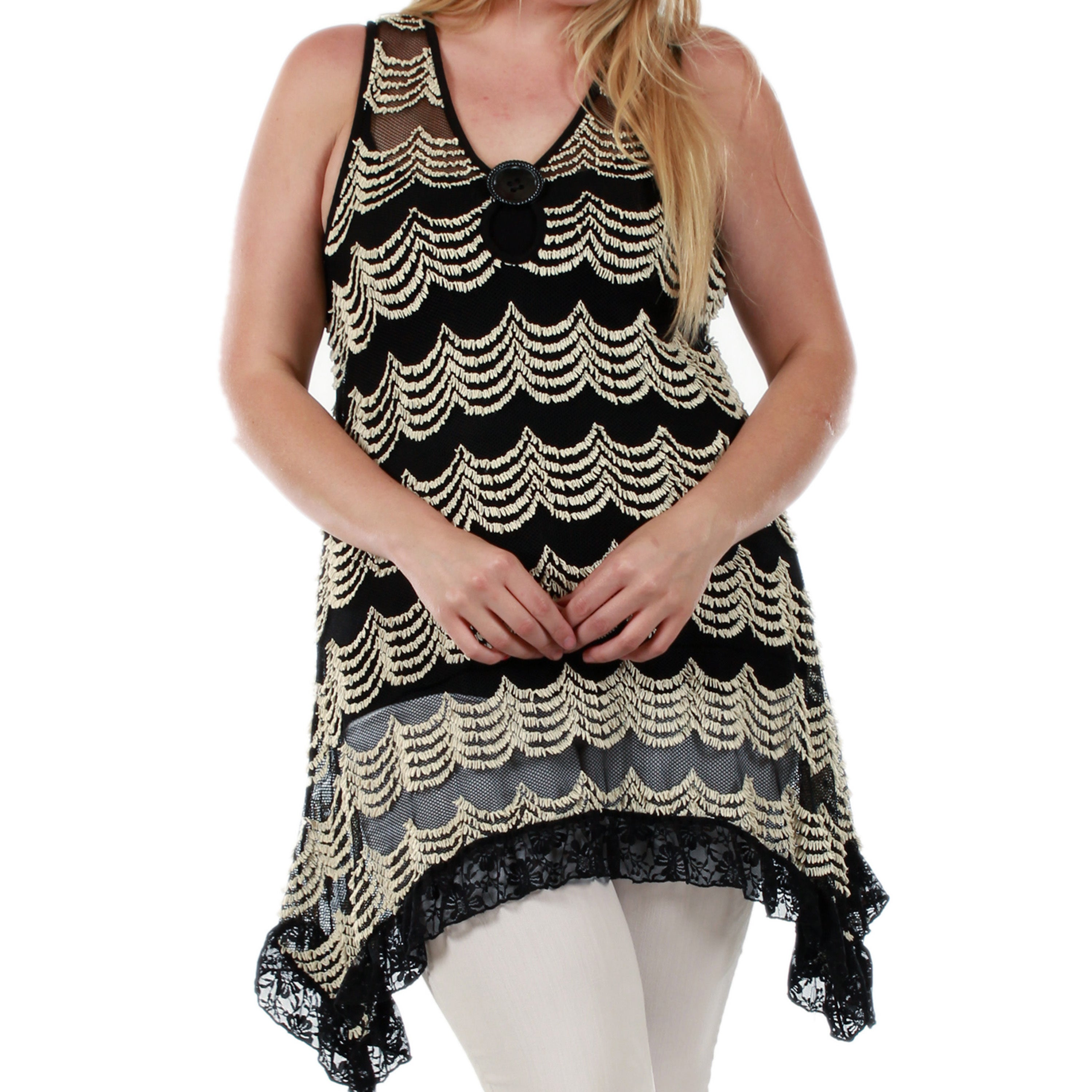 8f9d23f4ecc Shop Firmiana Women s Plus Size Sleeveless Black and Gold Tunic - Free  Shipping On Orders Over  45 - Overstock.com - 10568451