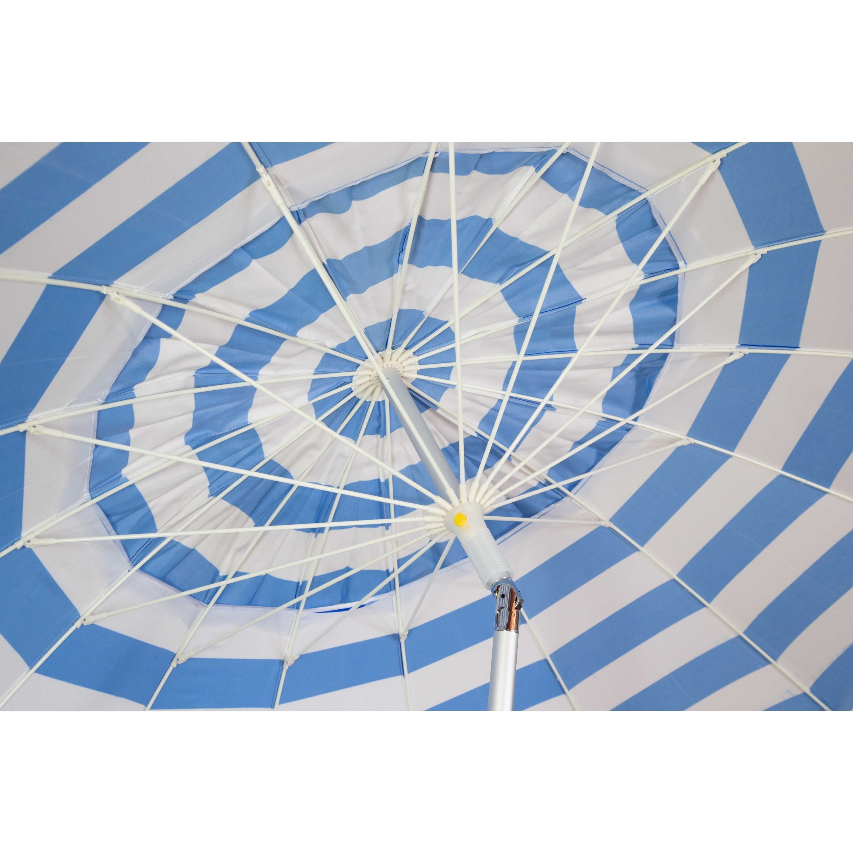 8 ft Royal Blue and White Stripe Deluxe Beach Patio Umbrella