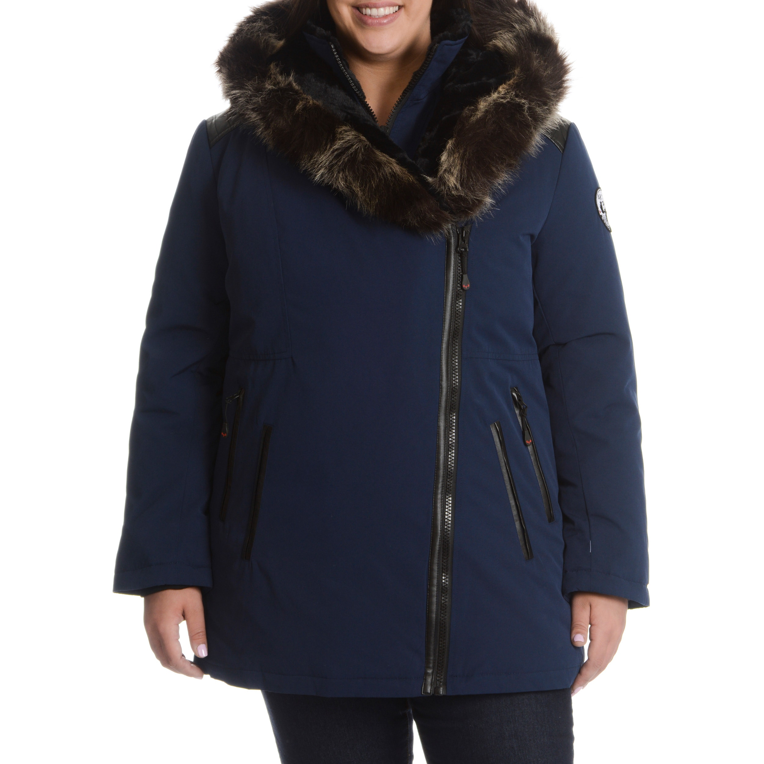 b4c7262e6ab Shop Women s Plus Size Down Jacket with Faux Fur Trim Hood - On Sale ...