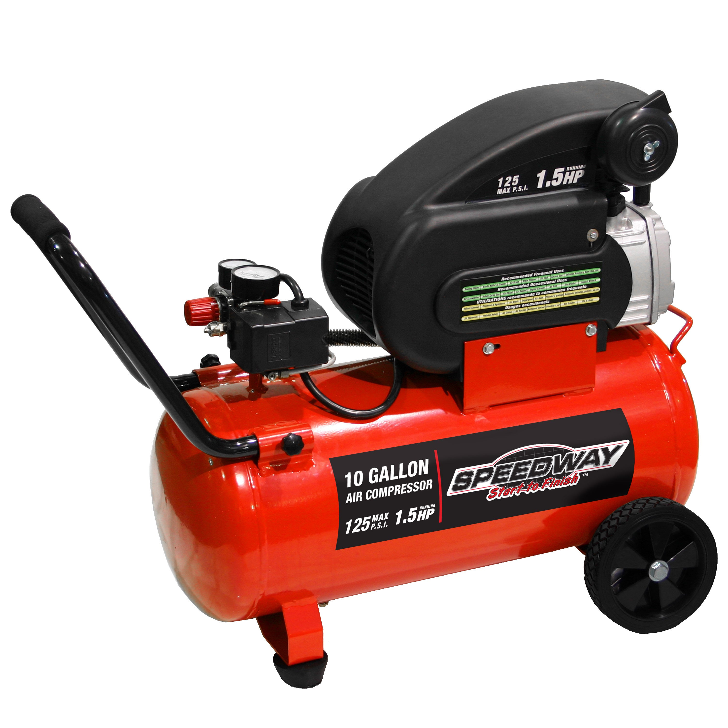 Shop S Dway 10 Gallon Air Compressor With Pneumatic Tires Free Shipping Today Overstock Com 10568906