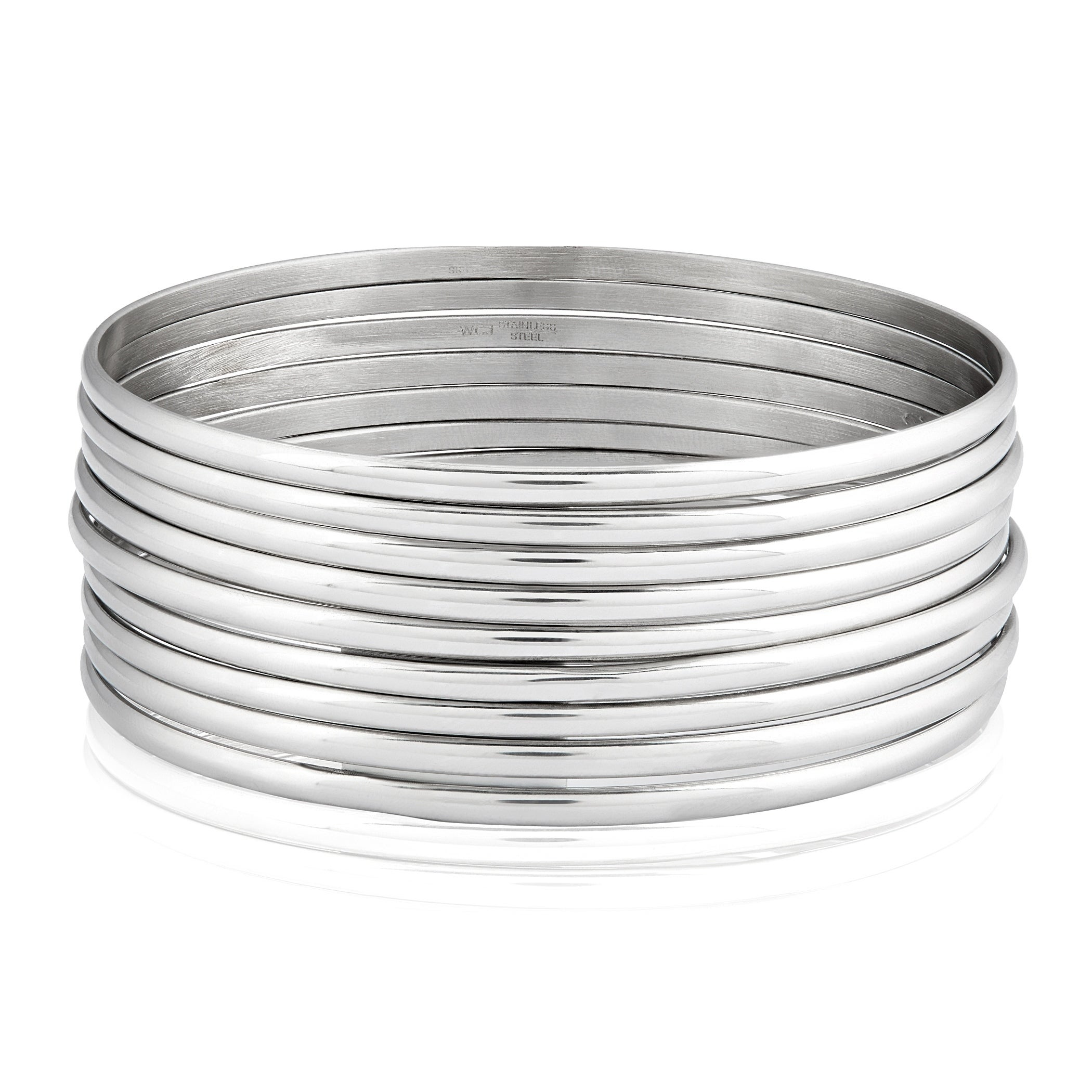 Women S Stainless Steel 9 Piece Stackable Bangle Bracelets On Free Shipping Orders Over 45 10569847