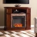 Harper Blvd Davenport Espresso Faux Stone Electric Media Fireplace
