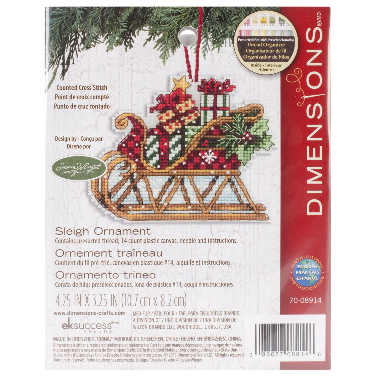 Shop Susan Winget Sleigh Ornament Counted Cross Stitch Kit4.25inX3 ...