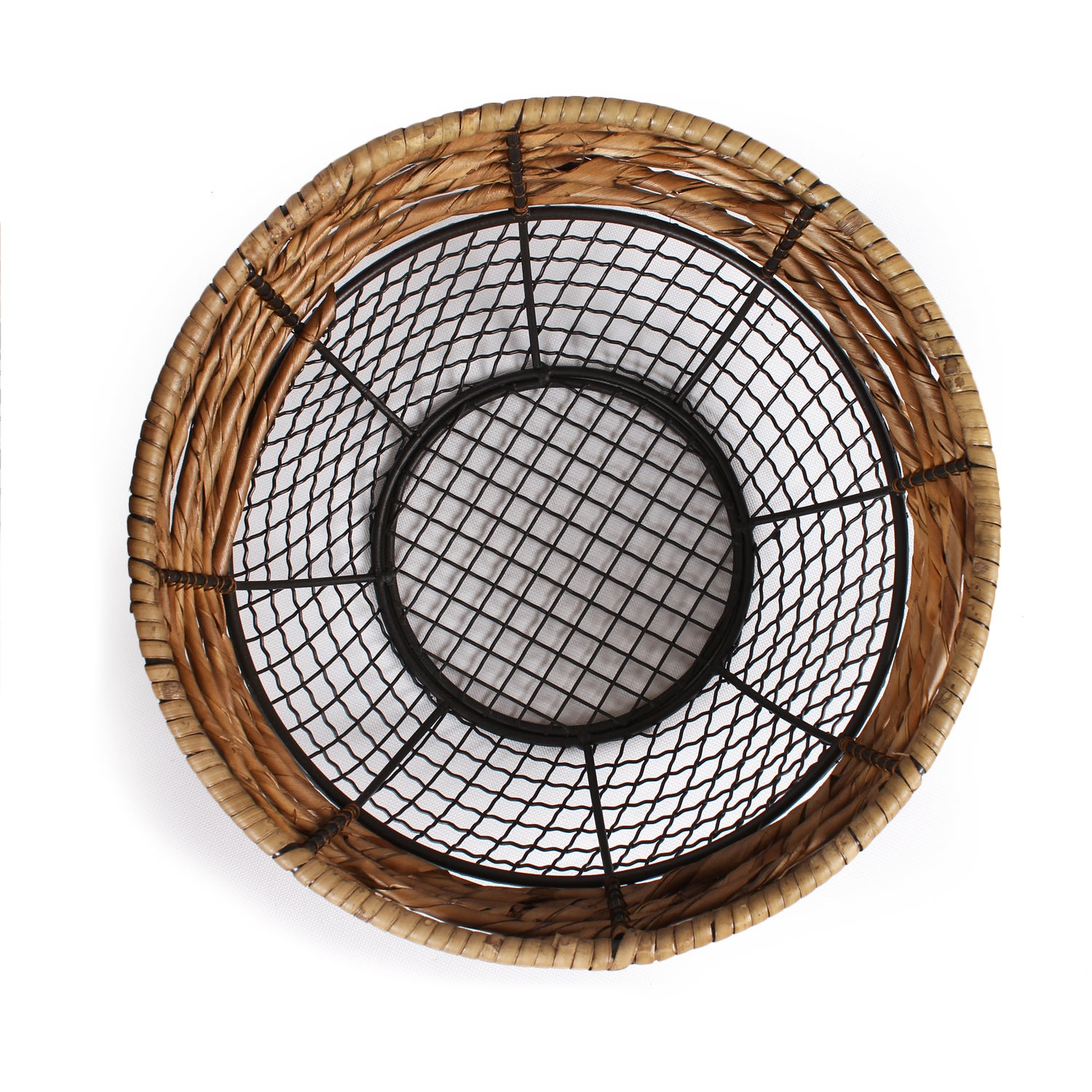 Shop Adeco Black Iron Wire Round Wide-Mouth Basket with Seagrass ...