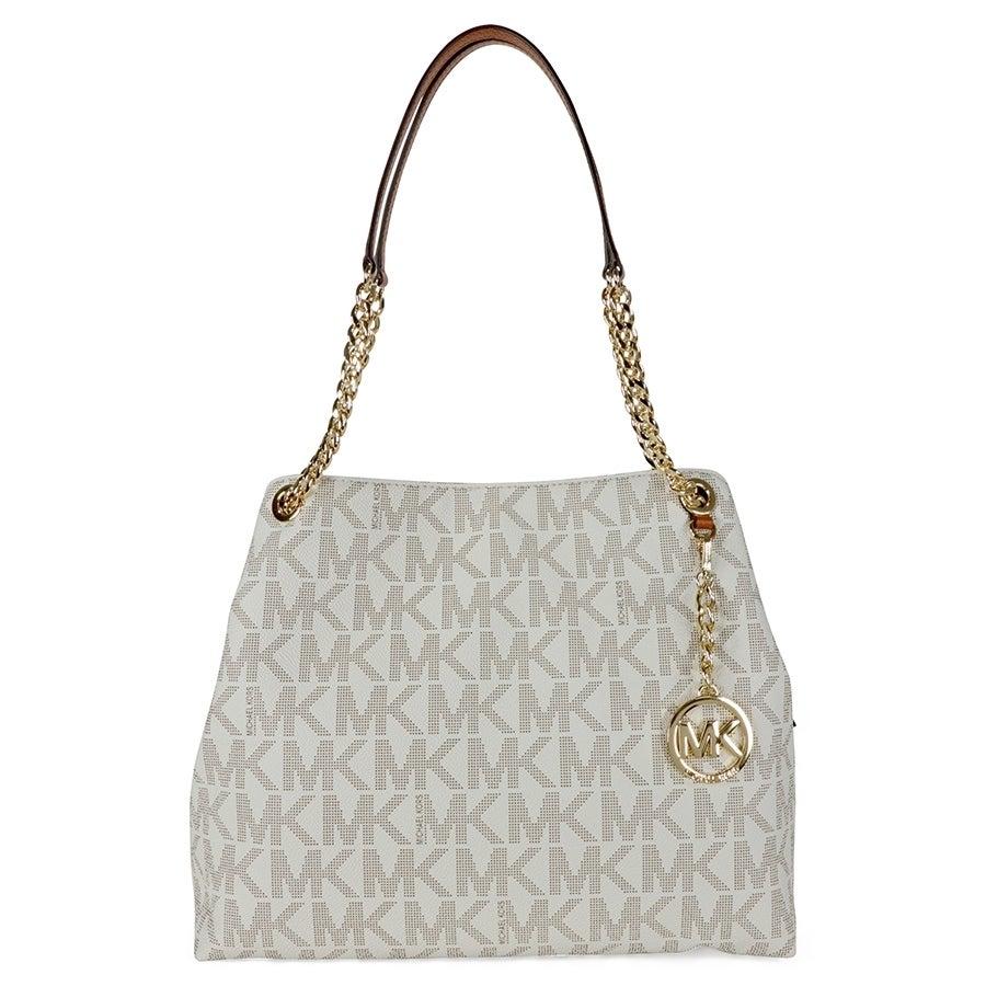 5a3f8f89213b ... sale shop michael kors jet set chain item vanilla gold large shoulder  tote handbag free shipping