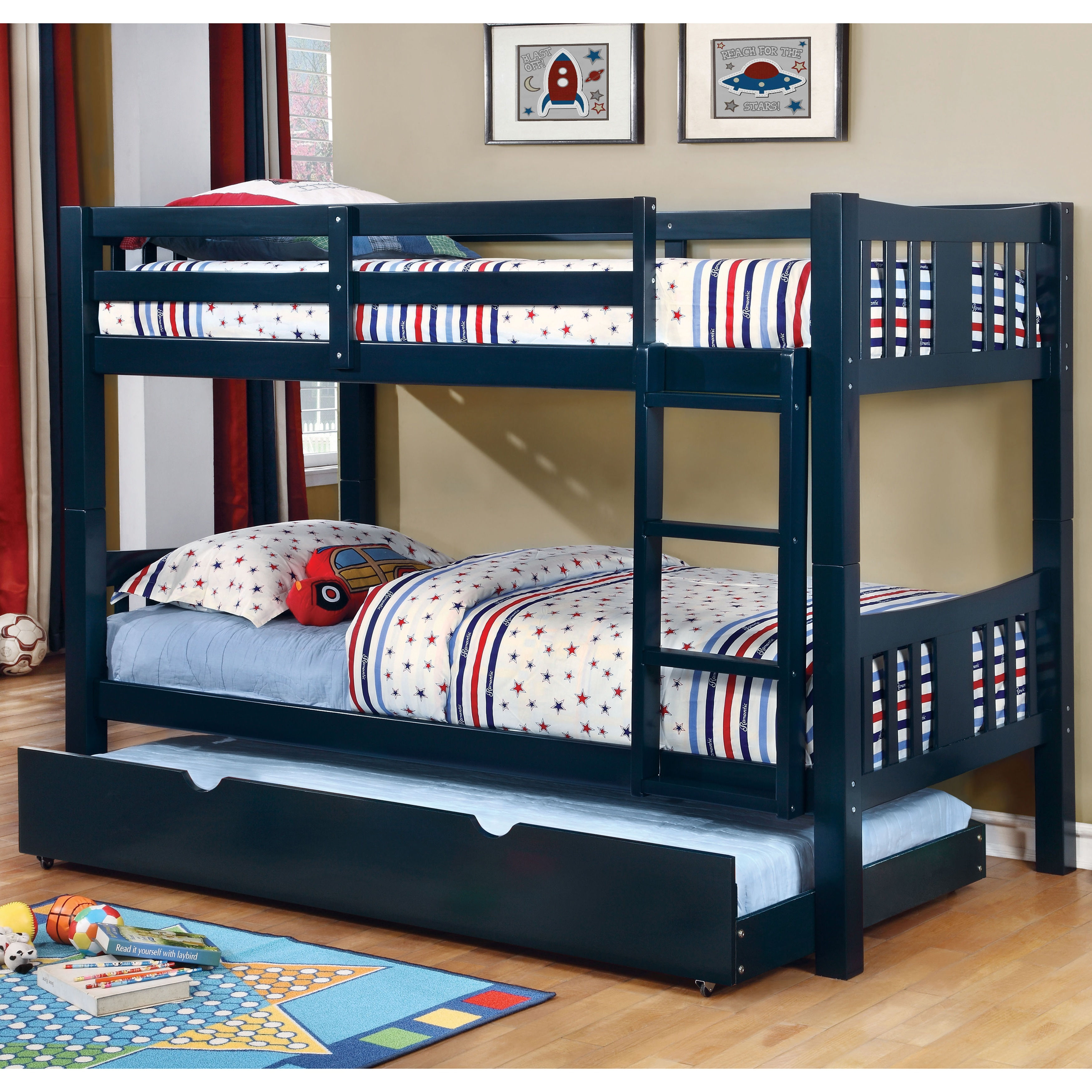 Shop Pello Modern Twin Over Twin 2 Piece Bunk Bed With Trundle Set