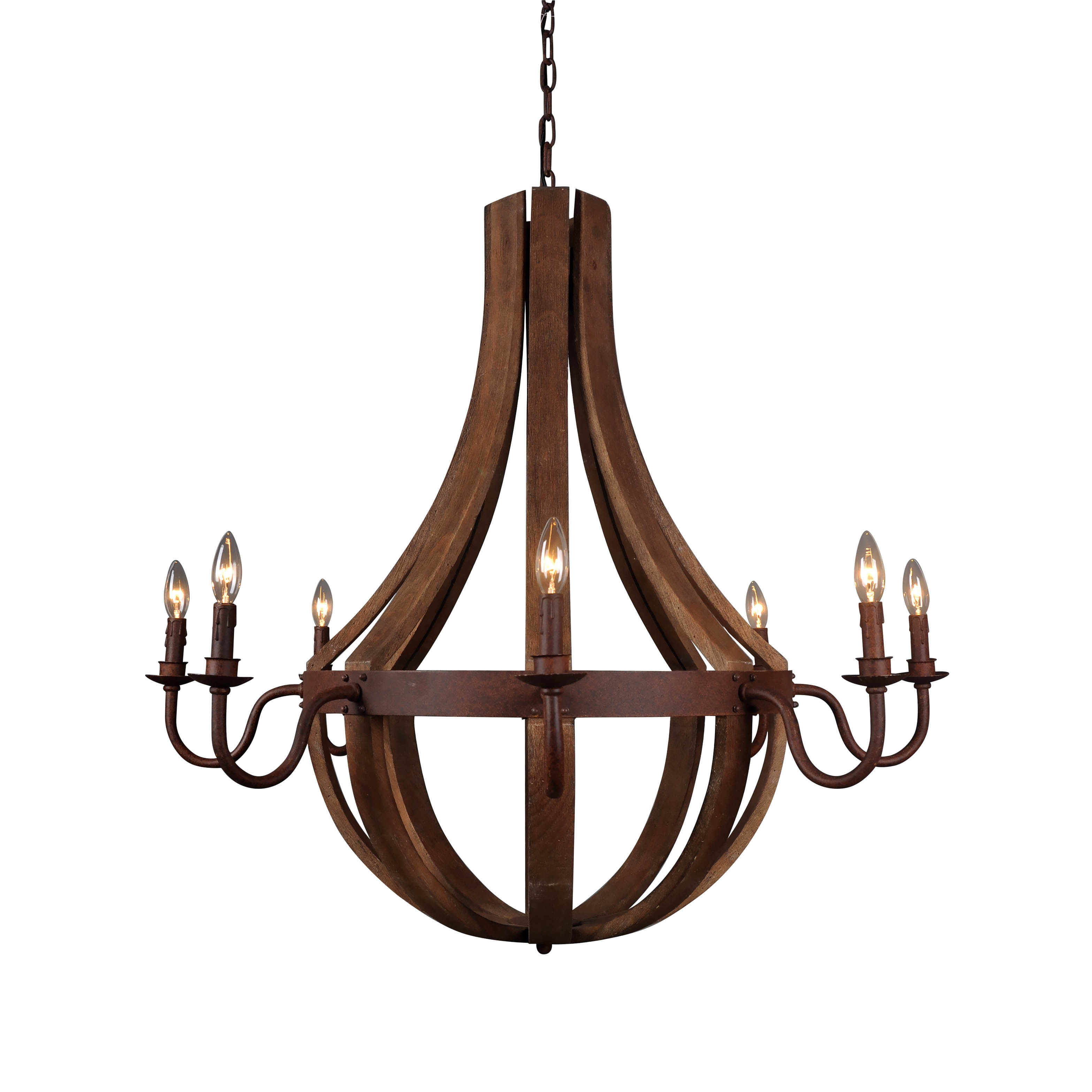 Aurelle Home Reclaimed Wood and Cast Iron Barrel Chandelier Free