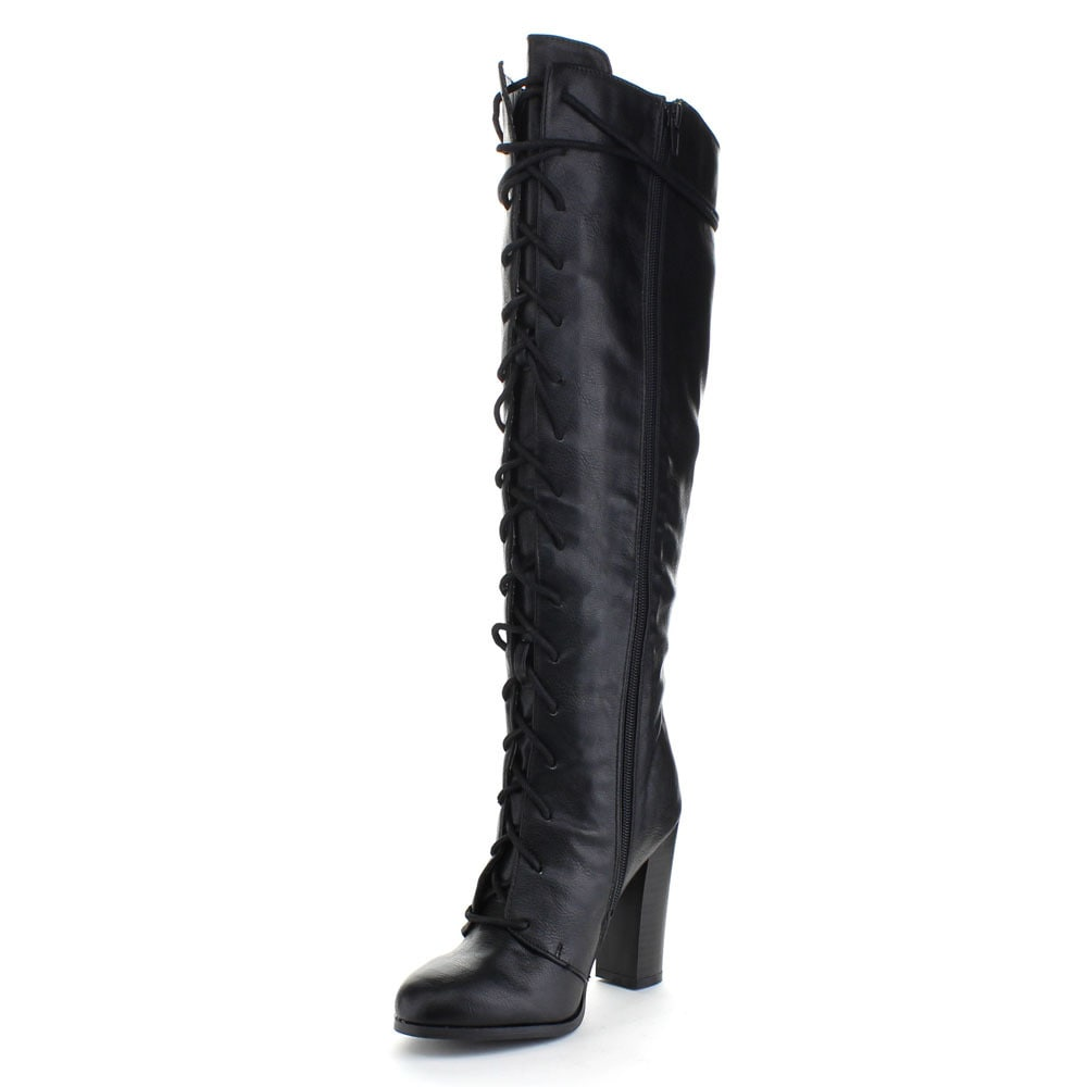 a9d25b37533 Shop QUPID REBORN-20 Women s Almond Toe Lace Up Chunky Heel Combat Knee  High Boots - Free Shipping Today - Overstock - 10577532