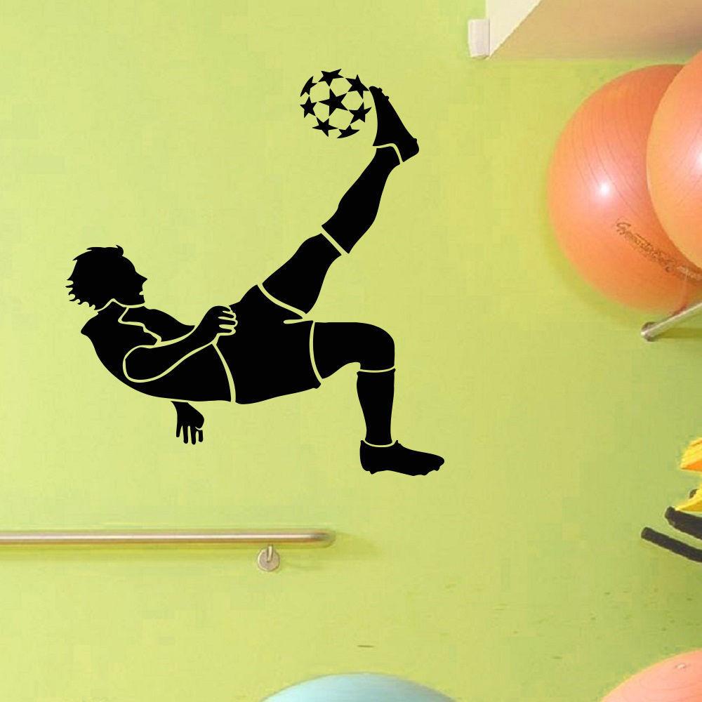 Shop Soccer Player Bicycle Kick Vinyl Wall Art Decal Sticker - Free ...