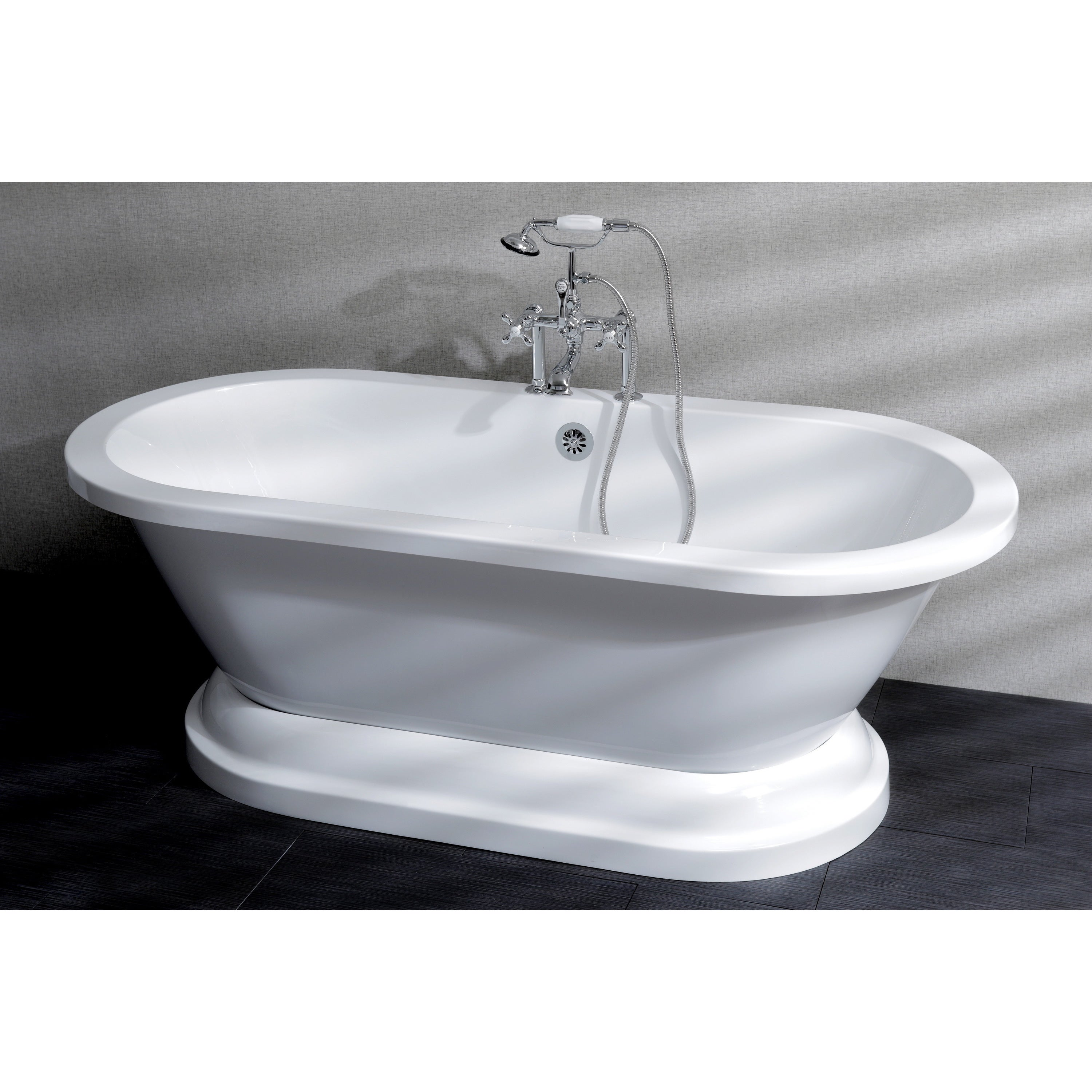Shop Contemporary Double Ended Acrylic 67-inch Pedestal Bathtub with ...