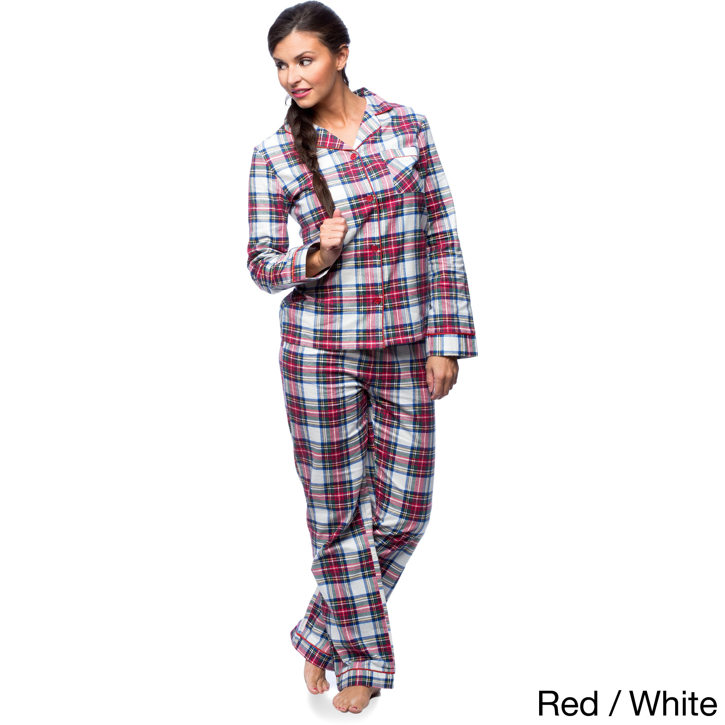 733923d2f7 Shop White Mark Women s Slim-Fit Plaid Flannel Pajama Set - On Sale - Free  Shipping On Orders Over  45 - Overstock - 10578221