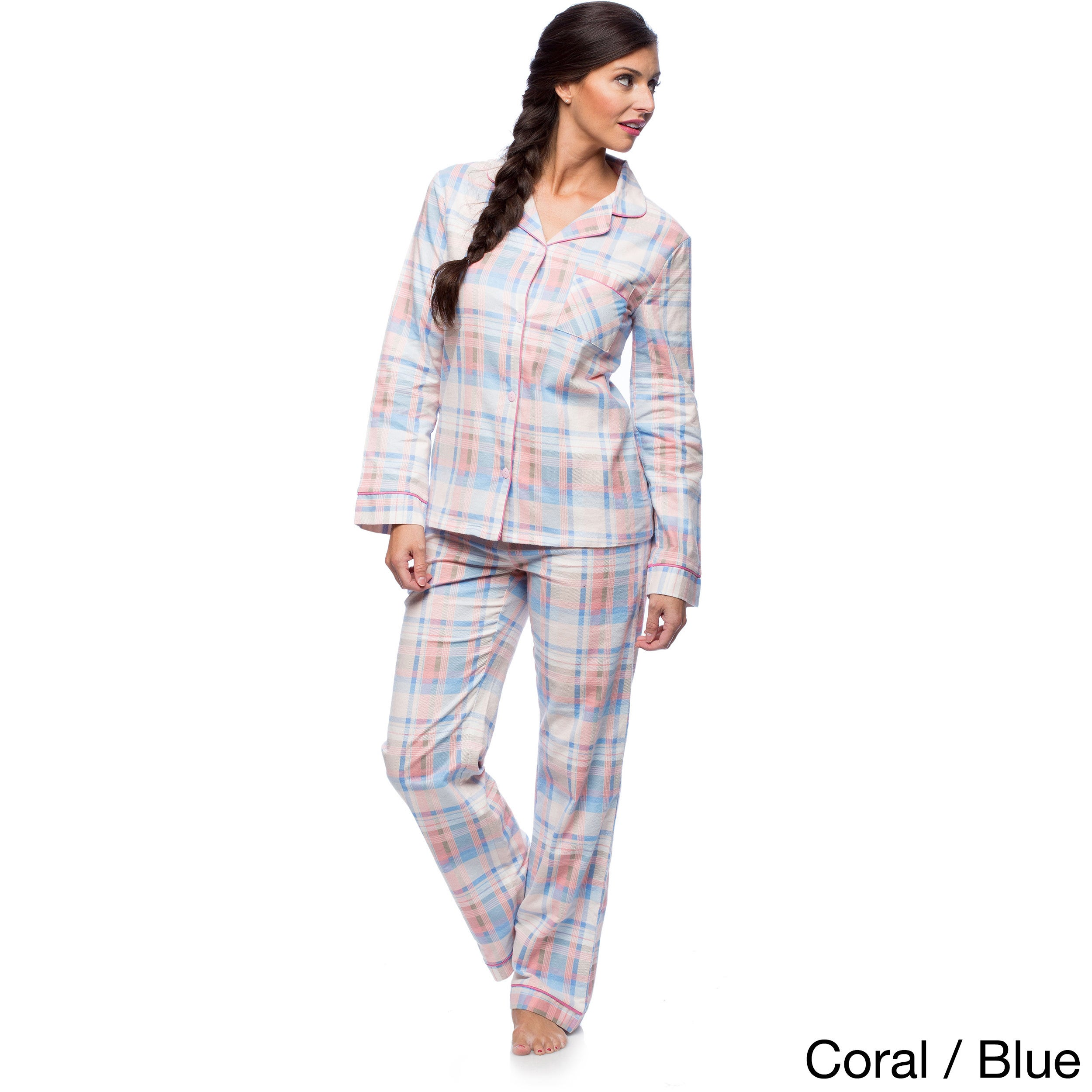 26fd22f2be Shop White Mark Women s Slim-Fit Plaid Flannel Pajama Set - Free Shipping  On Orders Over  45 - Overstock - 10578221