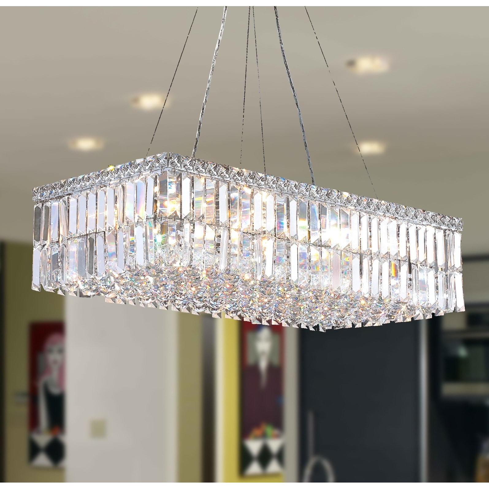 Modern art deco style 16 light chrome finish clear crystal modern art deco style 16 light chrome finish clear crystal rectangle chandelier 28 l free shipping today overstock 17654207 arubaitofo Image collections
