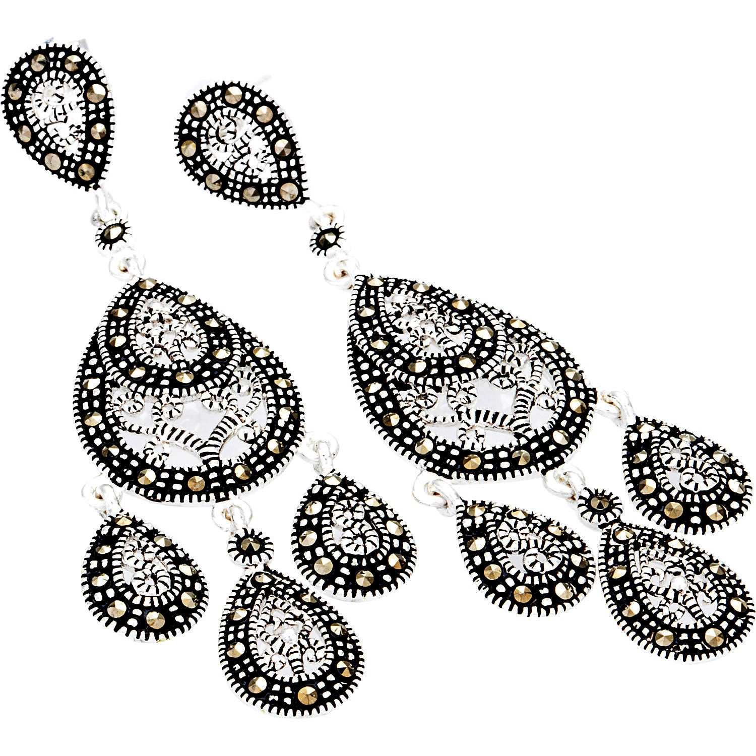 Silverplated marcasite chandelier earrings free shipping on orders silverplated marcasite chandelier earrings free shipping on orders over 45 overstock 17657375 aloadofball Image collections