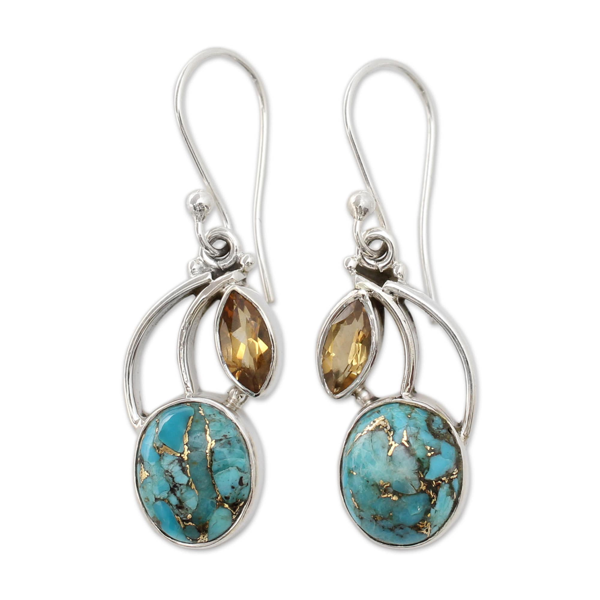 teardrop earrings stone silver jewelry genuine drop amazon sterling roped turquoise com dp