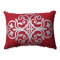 Pillow Perfect Silver Geometric Red Burlap Rectangular Throw Pillow
