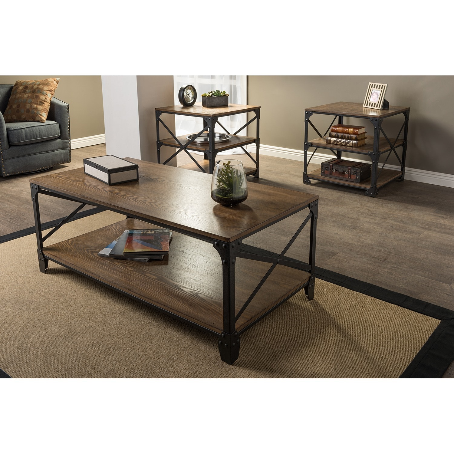 Greyson vintage industrial antique bronze round coffee cocktail table and end tables 3 piece occasional table set