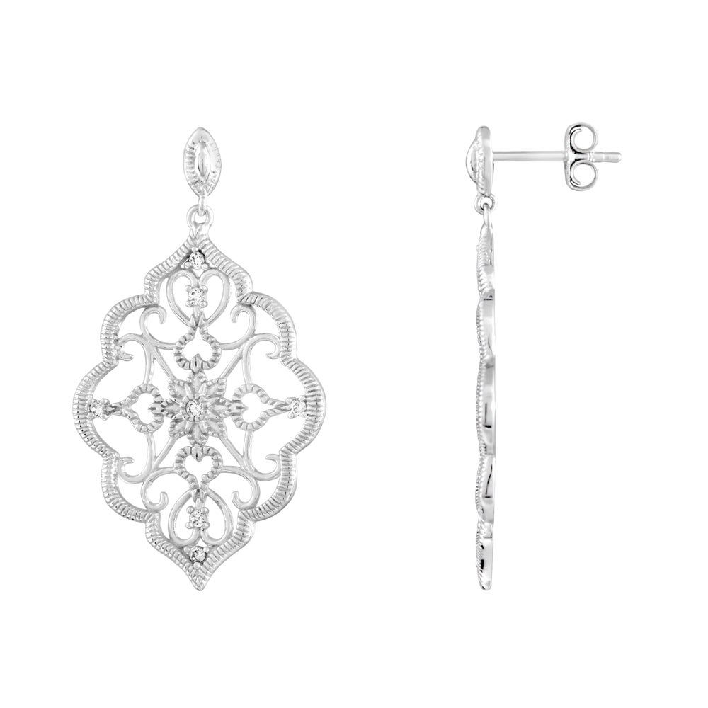 Kabella sterling silver cubic zirconia lace design chandelier kabella sterling silver cubic zirconia lace design chandelier earrings free shipping on orders over 45 overstock 17659106 arubaitofo Images