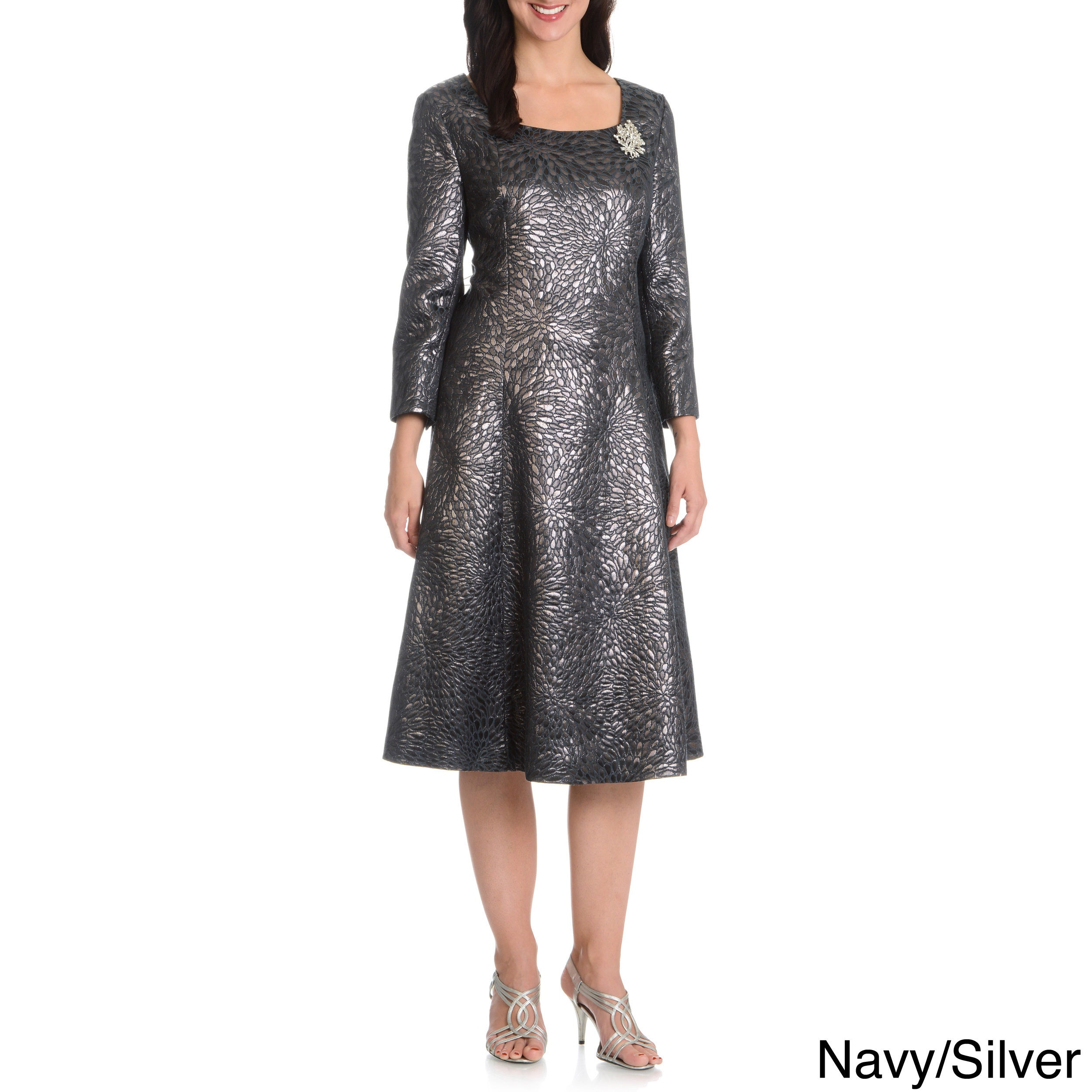 Shop Giovanna Signature Women s Metallic Pattern Dress - Free Shipping  Today - Overstock - 10584381 bc586fe10