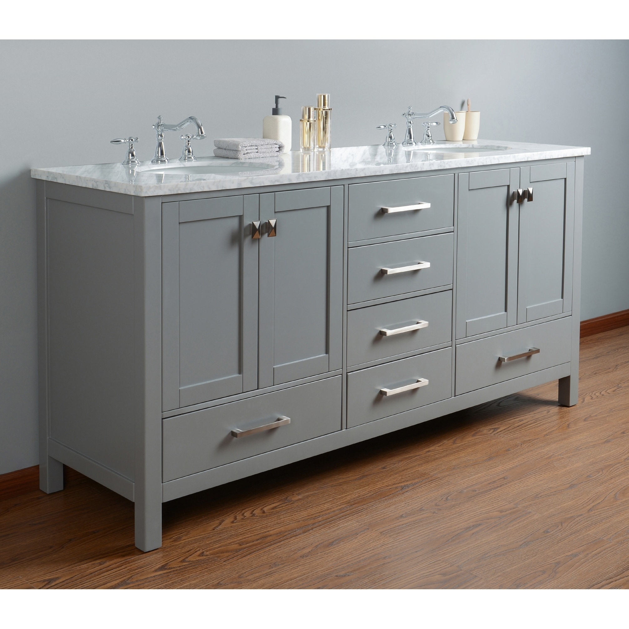 Sets bathroom vanity ari kitchen second - Stufurhome 72 Inch Malibu Grey Double Sink Bathroom Vanity Free Shipping Today Overstock Com 17659910