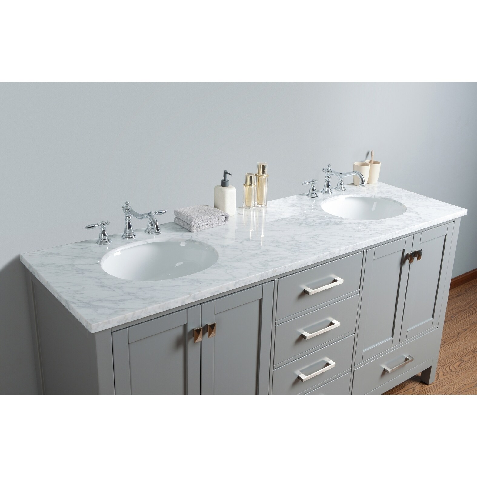 Shop Stufurhome 72 Inch Malibu Grey Double Sink Bathroom Vanity   Free  Shipping Today   Overstock.com   10585142