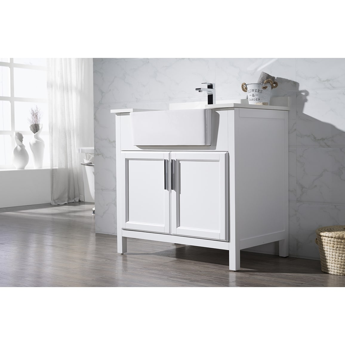 Shop Stufurhome Tyron White 36 Inch Farmhouse Apron Single Sink