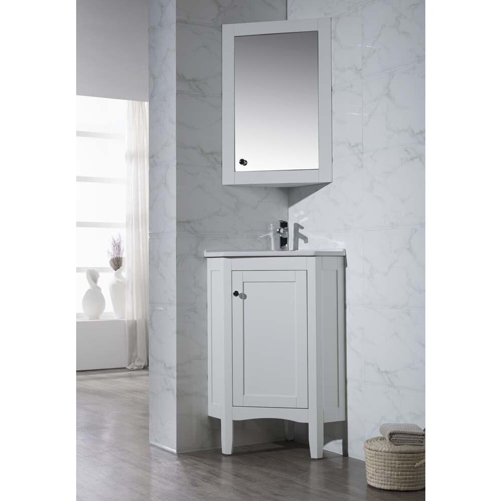 Shop Stufurhome Monte White 25 Inch Corner Bathroom Vanity with ...