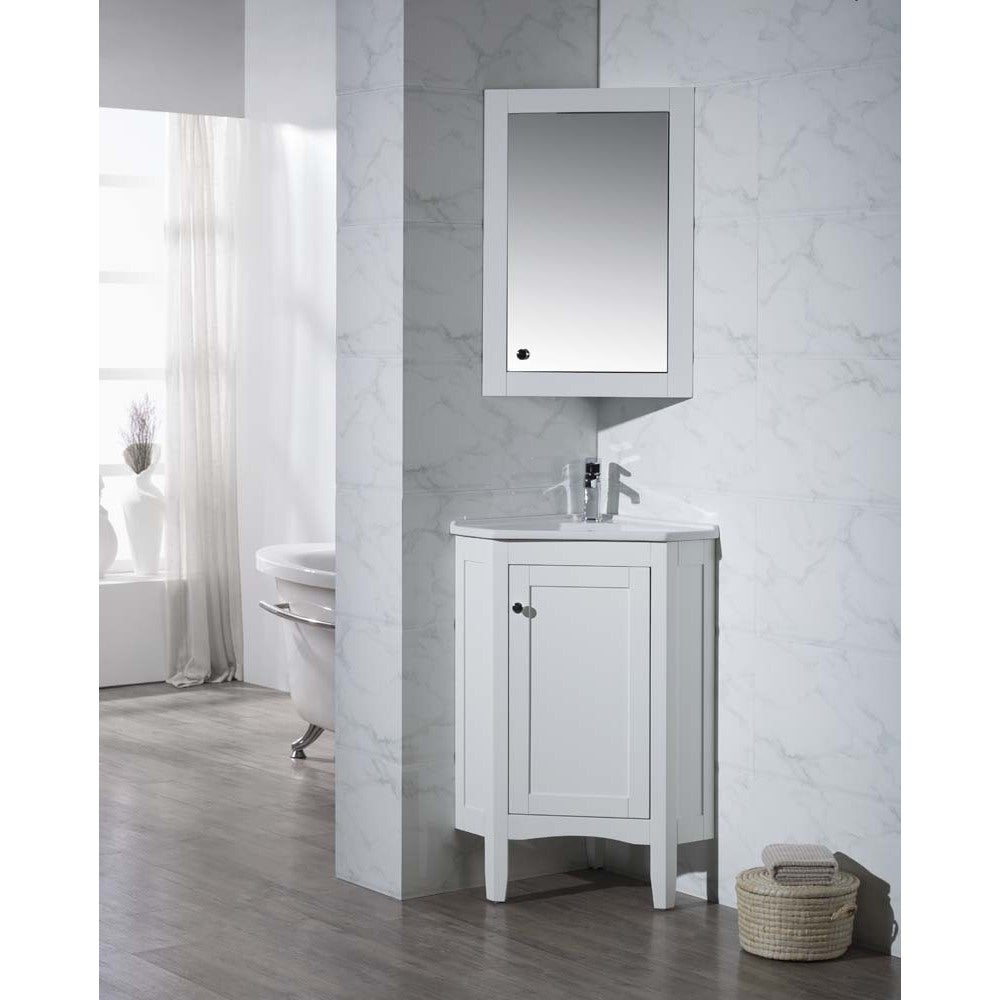 Shop Stufurhome Monte White 25 Inch Corner Bathroom Vanity with ...