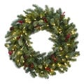 30-inch Lighted Pine Wreath w/Berries & Pine Cones