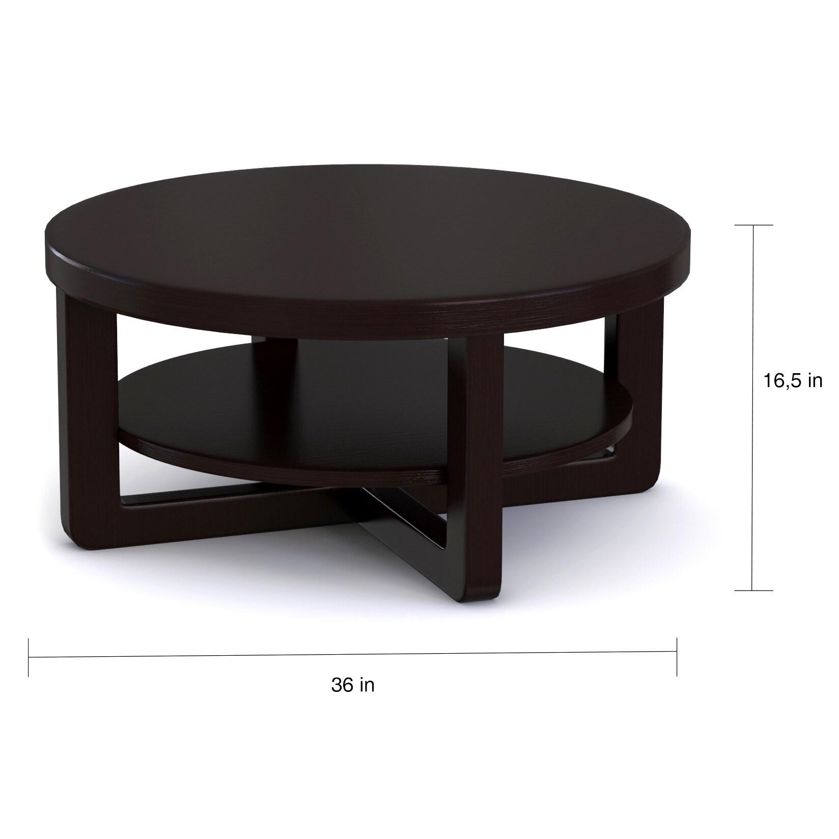 Porch & Den Bushwick Broadway Modern Cappuccino Round Coffee Table
