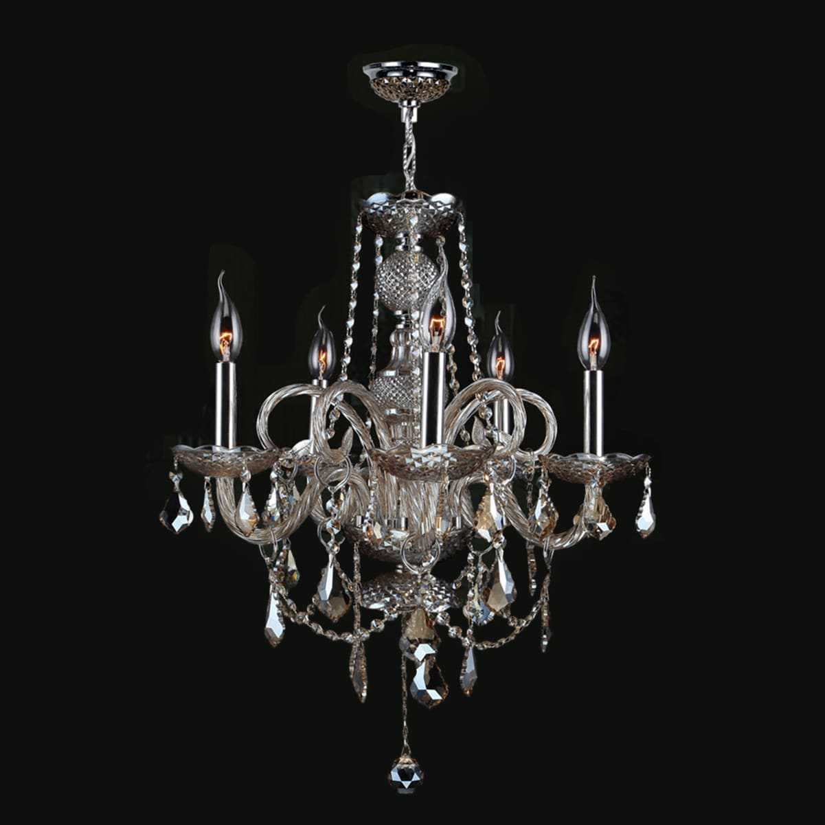 Venetian Collection 5 Light Chrome Finish And Golden Teak Crystal 20 X 22 Inch Chandelier On Free Today Com 10591690