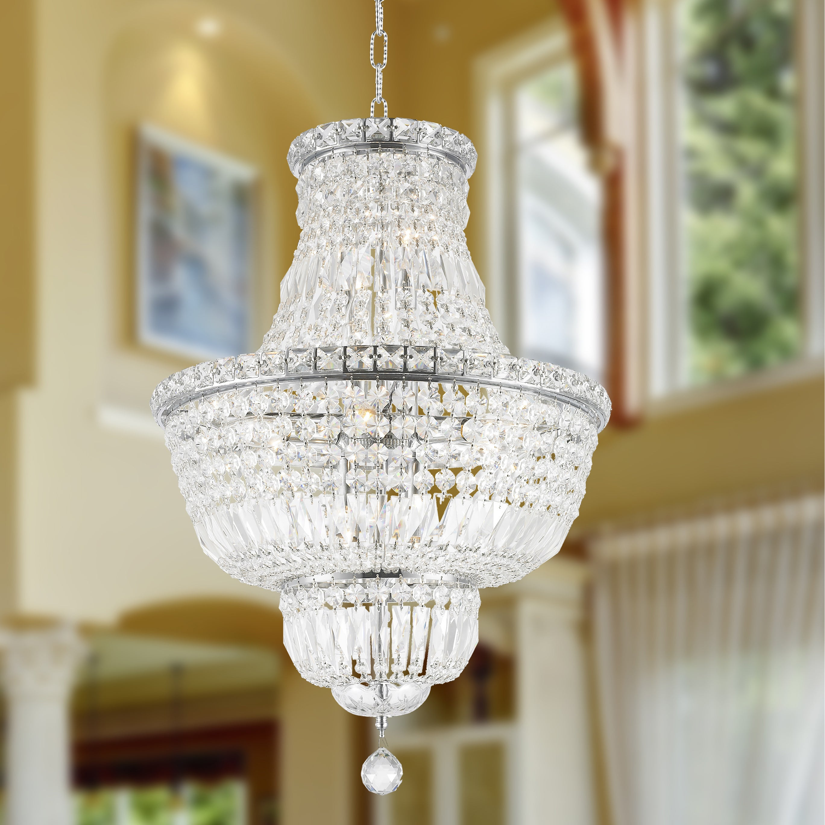 French Empire Collection 12 Light Chrome Finish and Clear Crystal