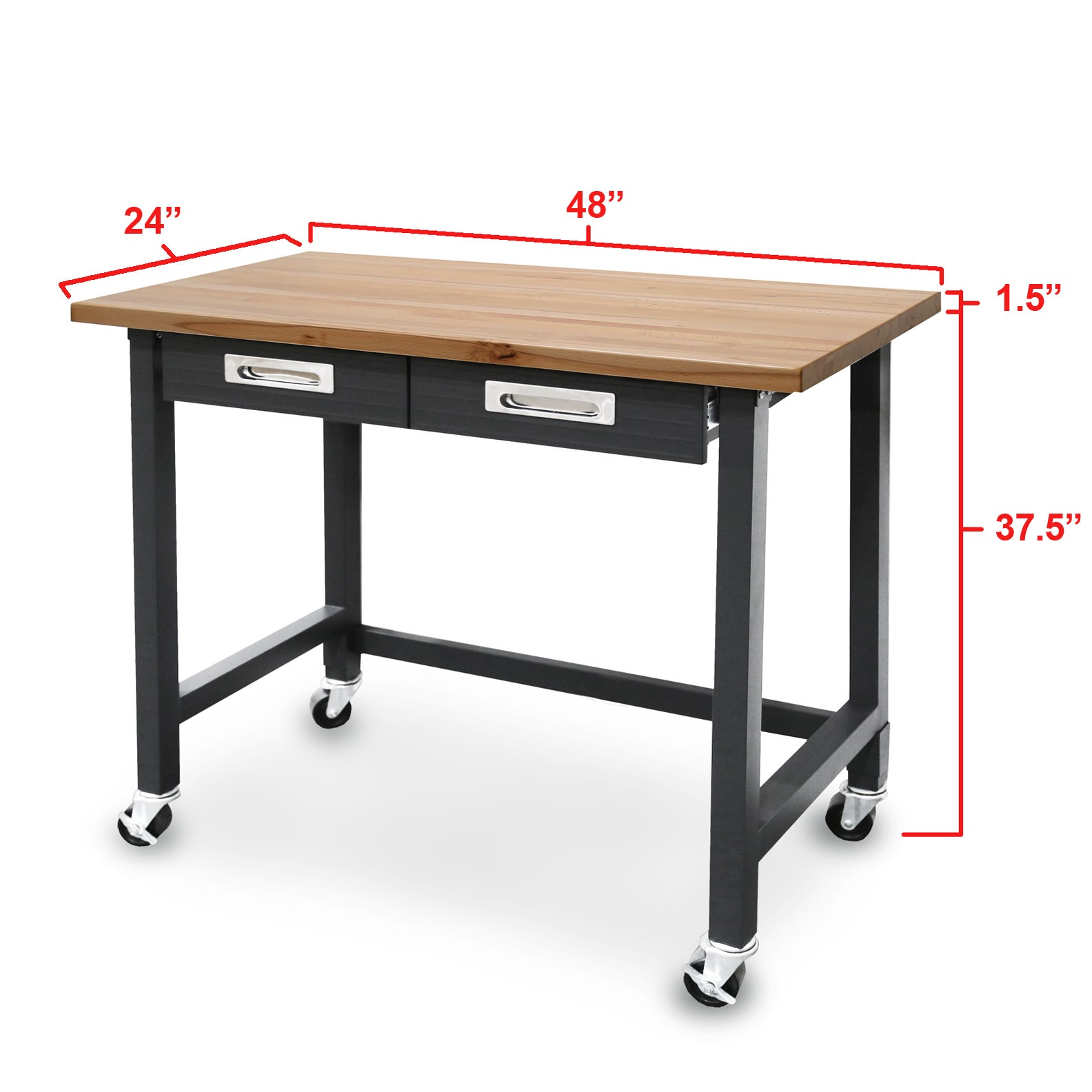 Seville Classics UltraGraphite Commercial Heavy Duty Wheeled Workbench With  Drawers