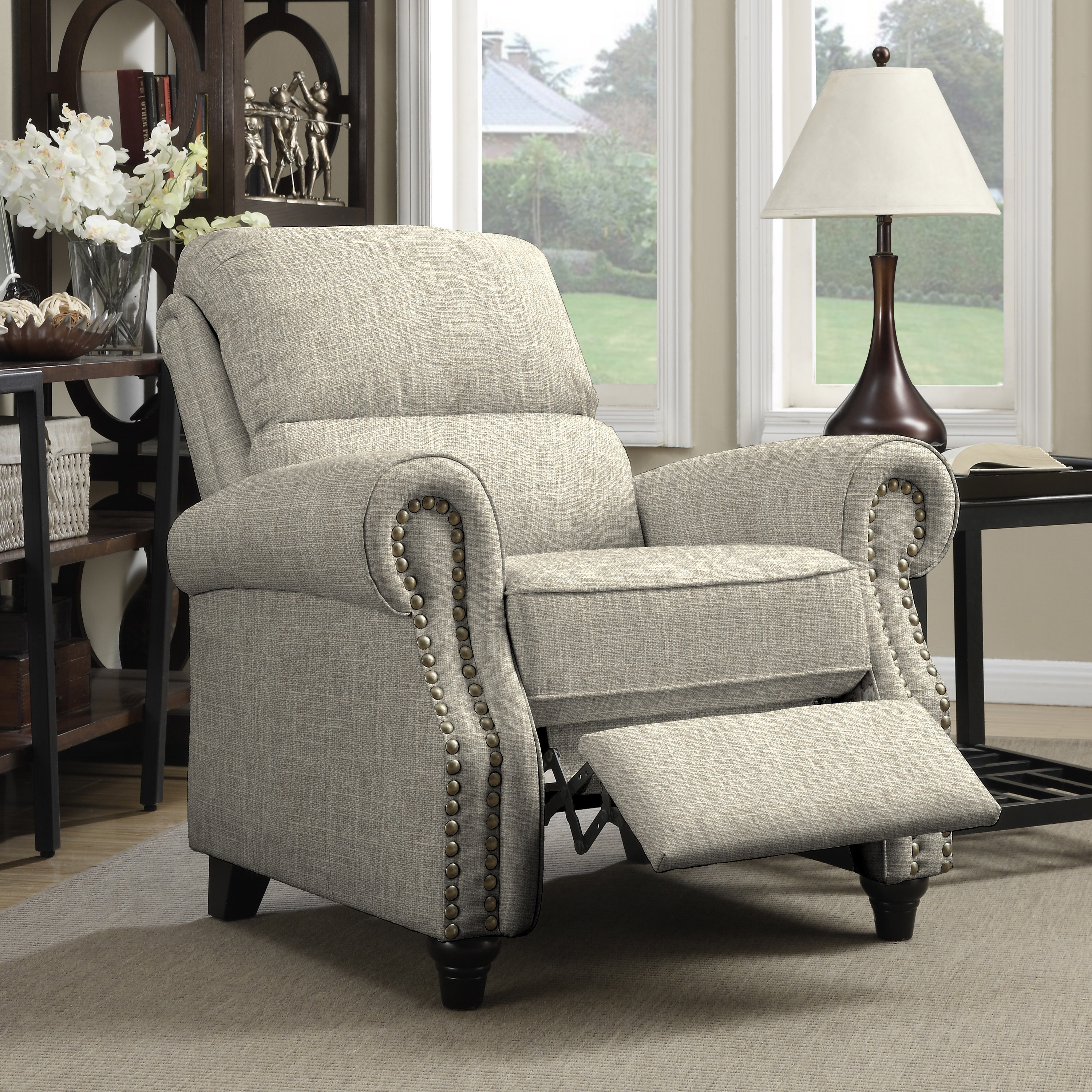 Shop copper grove umpqua tan linen push back recliner chair on sale free shipping today overstock com 20689686