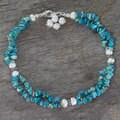 Handmade Sterling Silver 'Song of Summer' Turquoise Pearl Anklet (6 mm) (India)