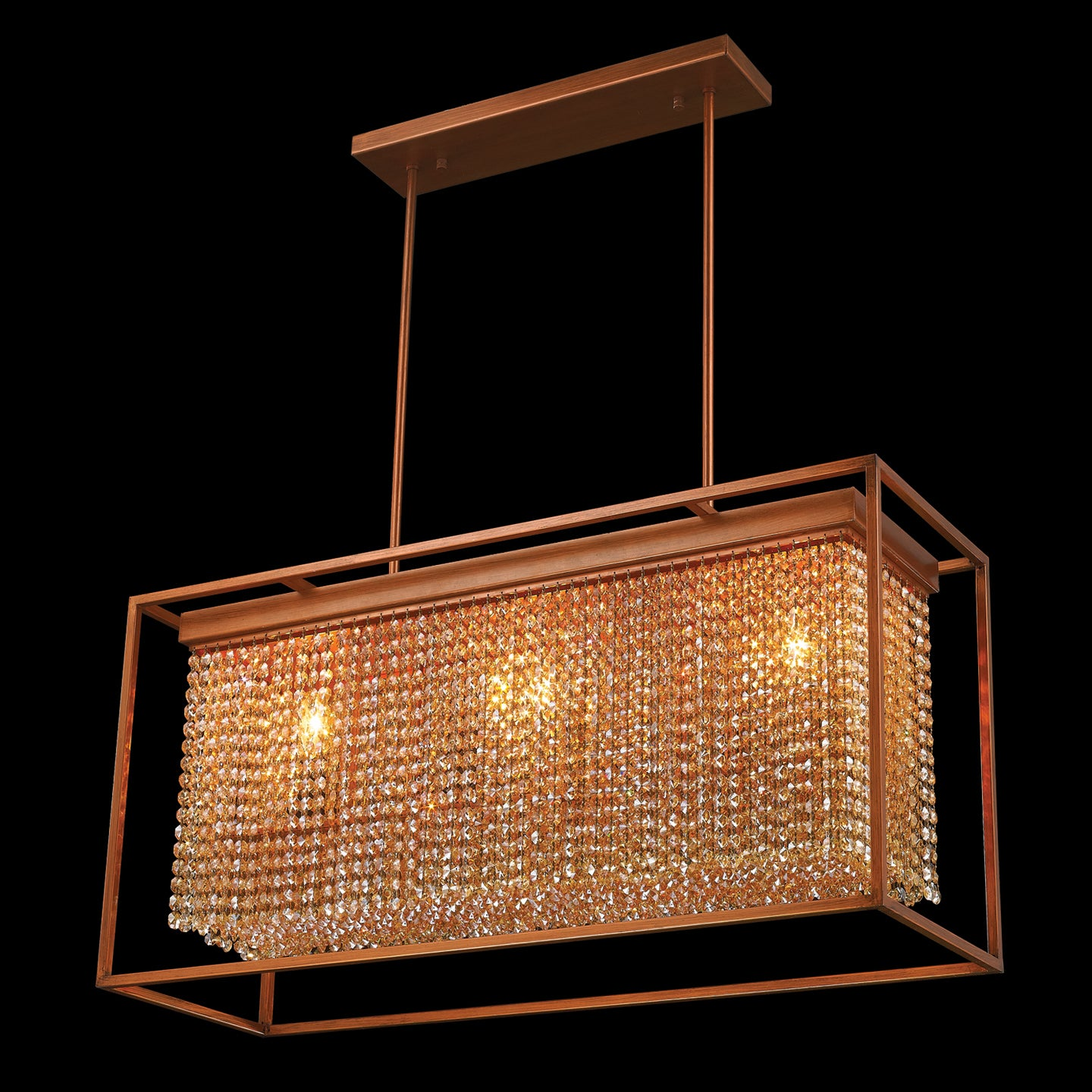 Modern Industrial 3 Light French Gold Finish and Amber Crystal