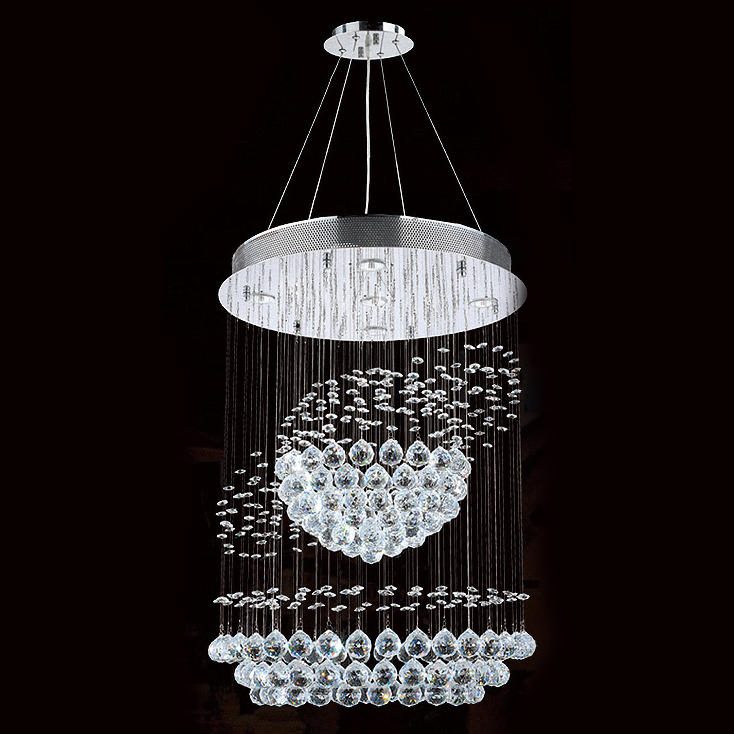 Modern Contemporary 5 Light Chrome Finish Full Lead Crystal Galaxy