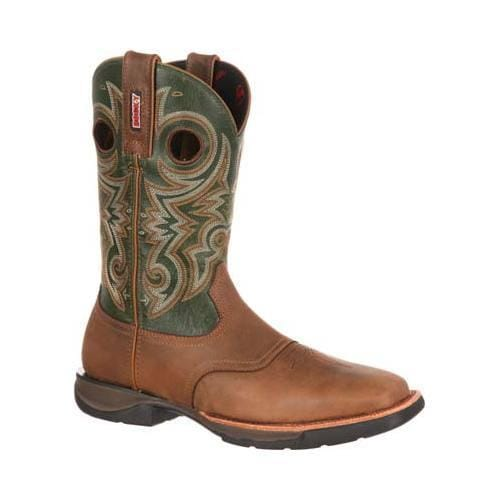 Men's Rocky 11in LT Western Lightweight Saddle Boot RKW0140 Brown/Green