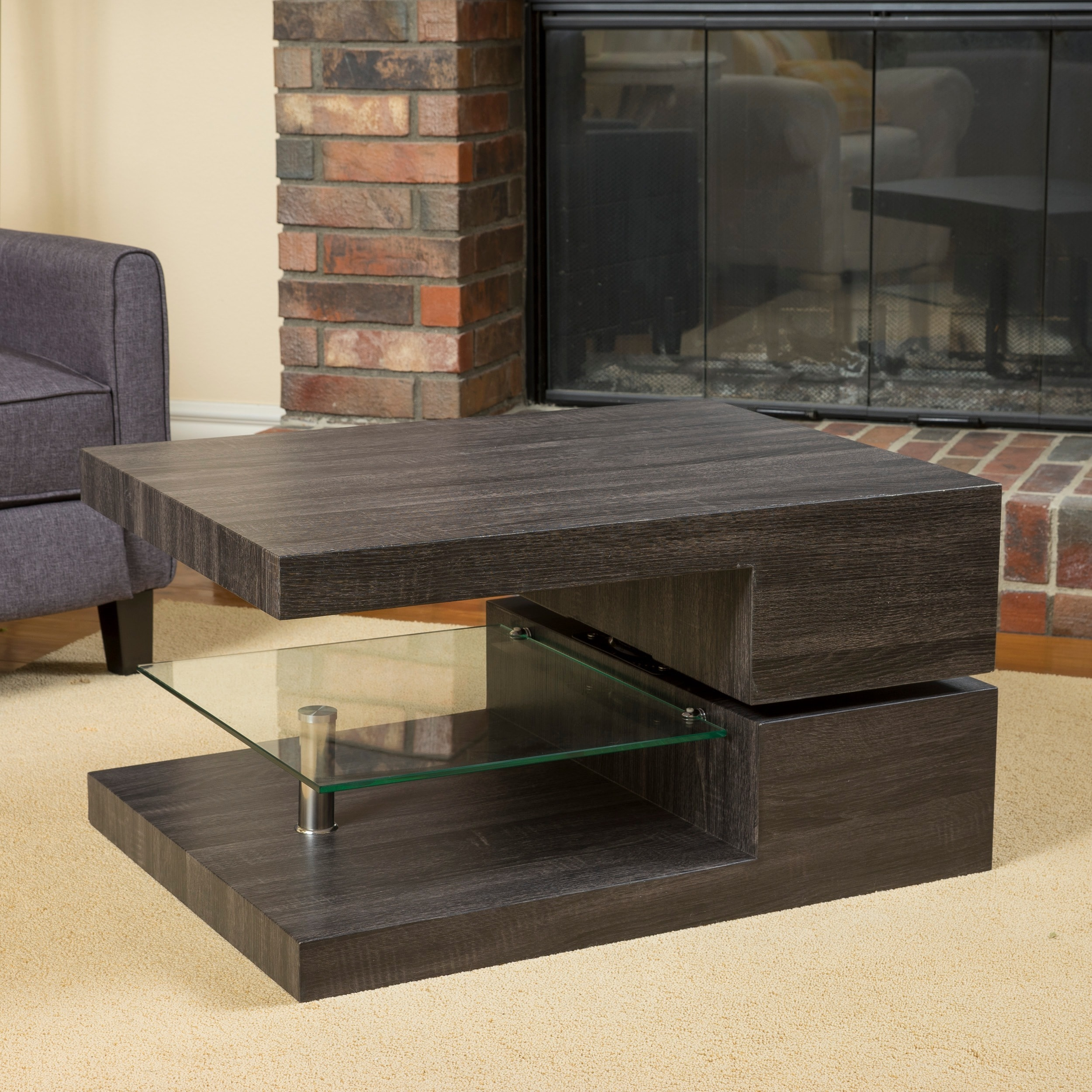 Shop Michael Rectangular Rotating Wood Coffee Table By Christopher Knight  Home   Free Shipping Today   Overstock.com   10600415