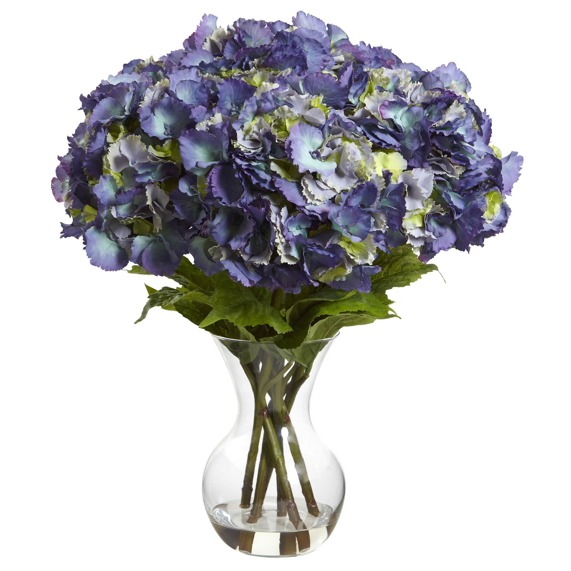Shop Large Hydrangea Wvase Silk Flower Arrangement Free Shipping