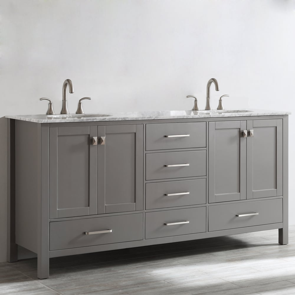 Gela 72 Inch Grey Double Vanity With Carrera White Marble Top Without  Mirror   Free Shipping Today   Overstock   17674252